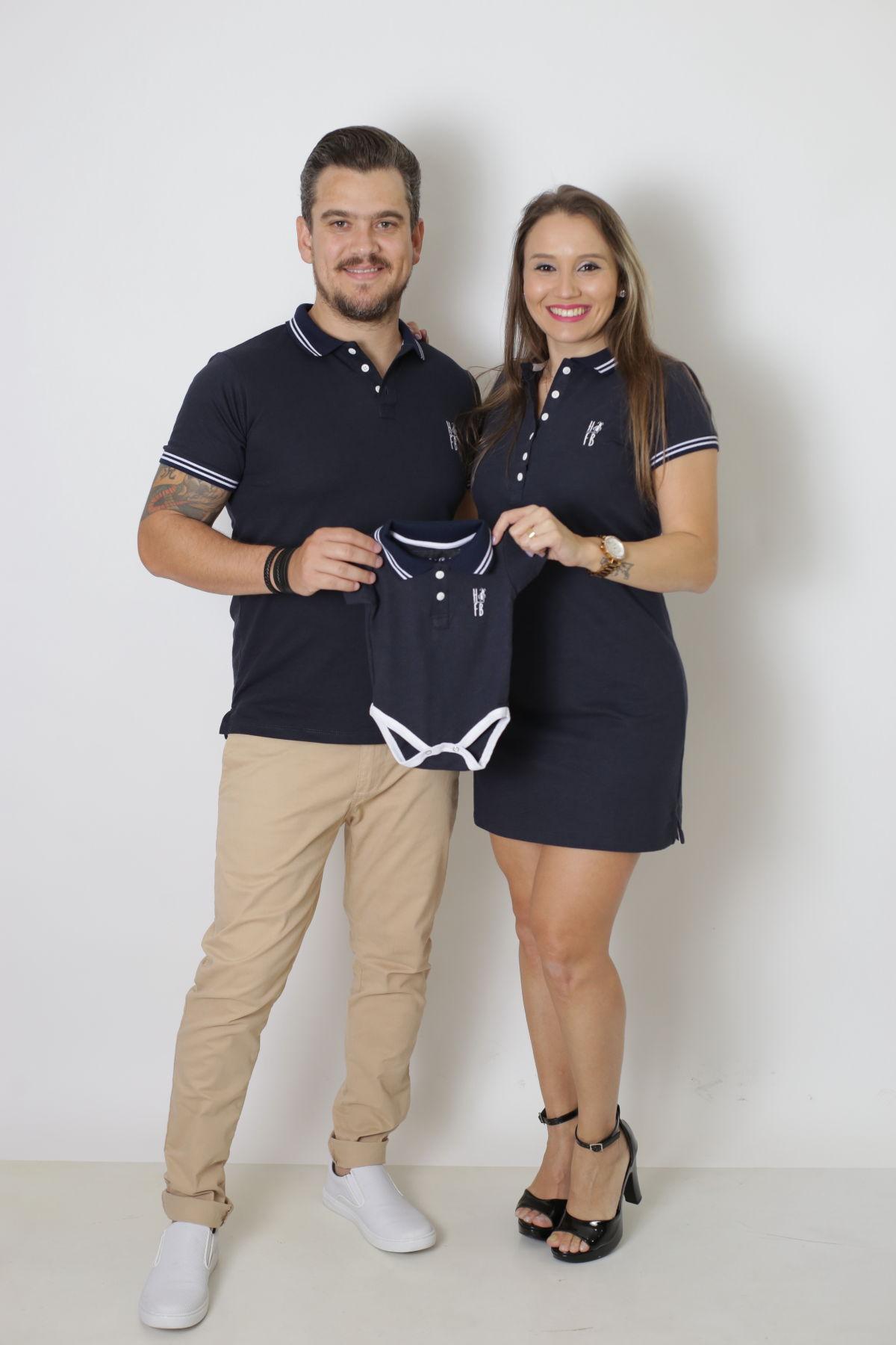 PAIS E FILHOS > Kit 3 Peças - Camisa + Body Unissex + Vestido Polo - Azul Marinho Céu [Coleção Família]  - Heitor Fashion Brazil