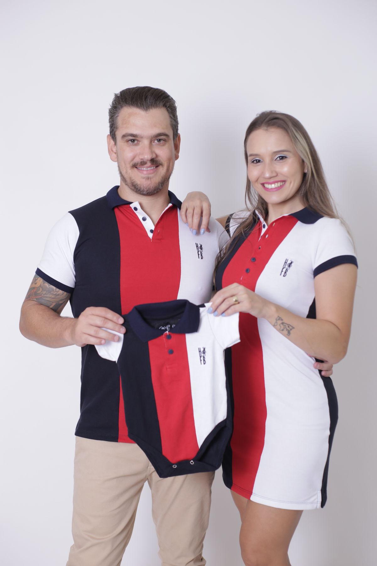 PAIS E FILHOS > Kit 3 peças - Camisa + Body Unissex + Vestido Polo - Listrados King [Coleção Família]