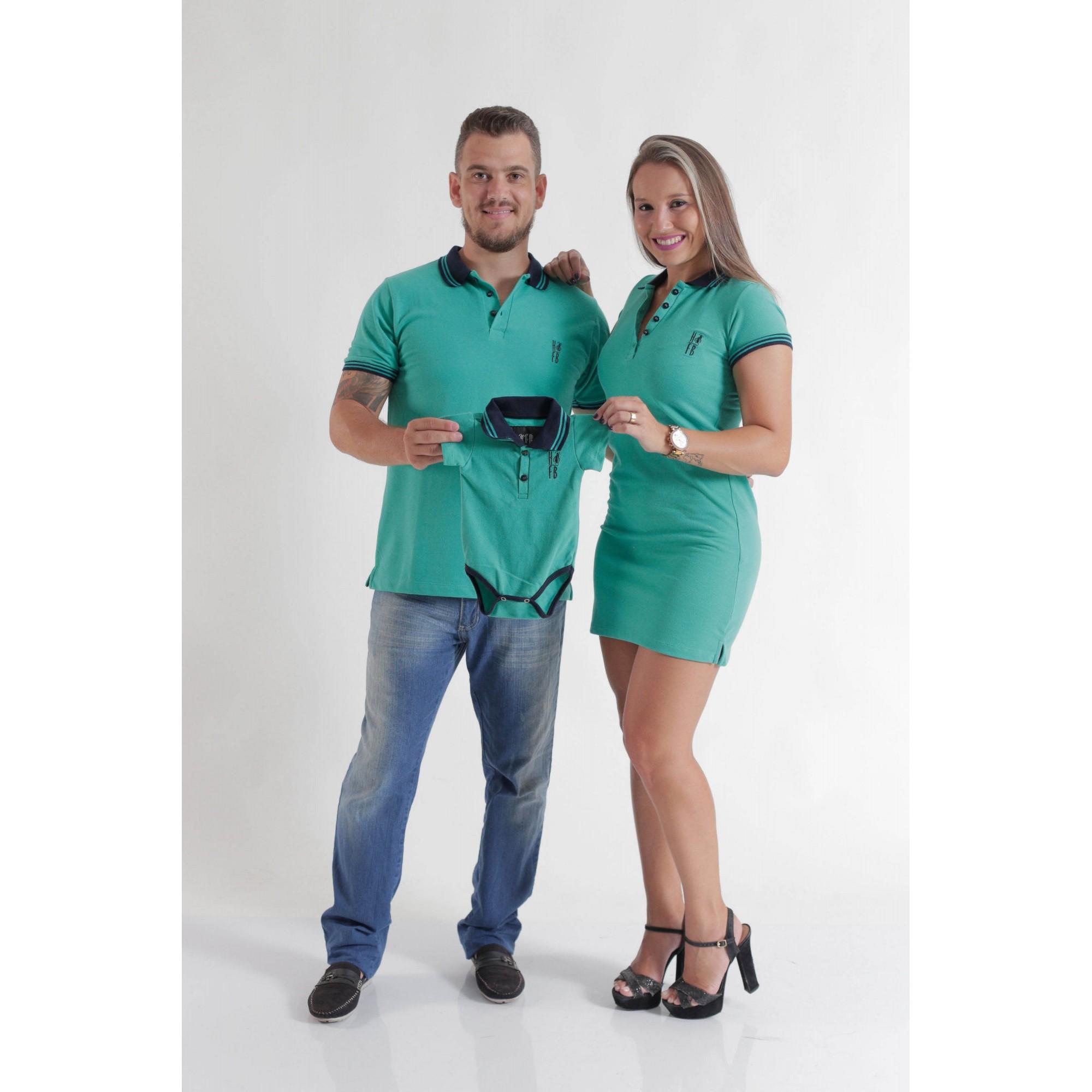 PAIS E FILHOS > Kit 3 Peças - Camisa + Body Unissex + Vestido Polo - Verde Jade [Coleção Família]