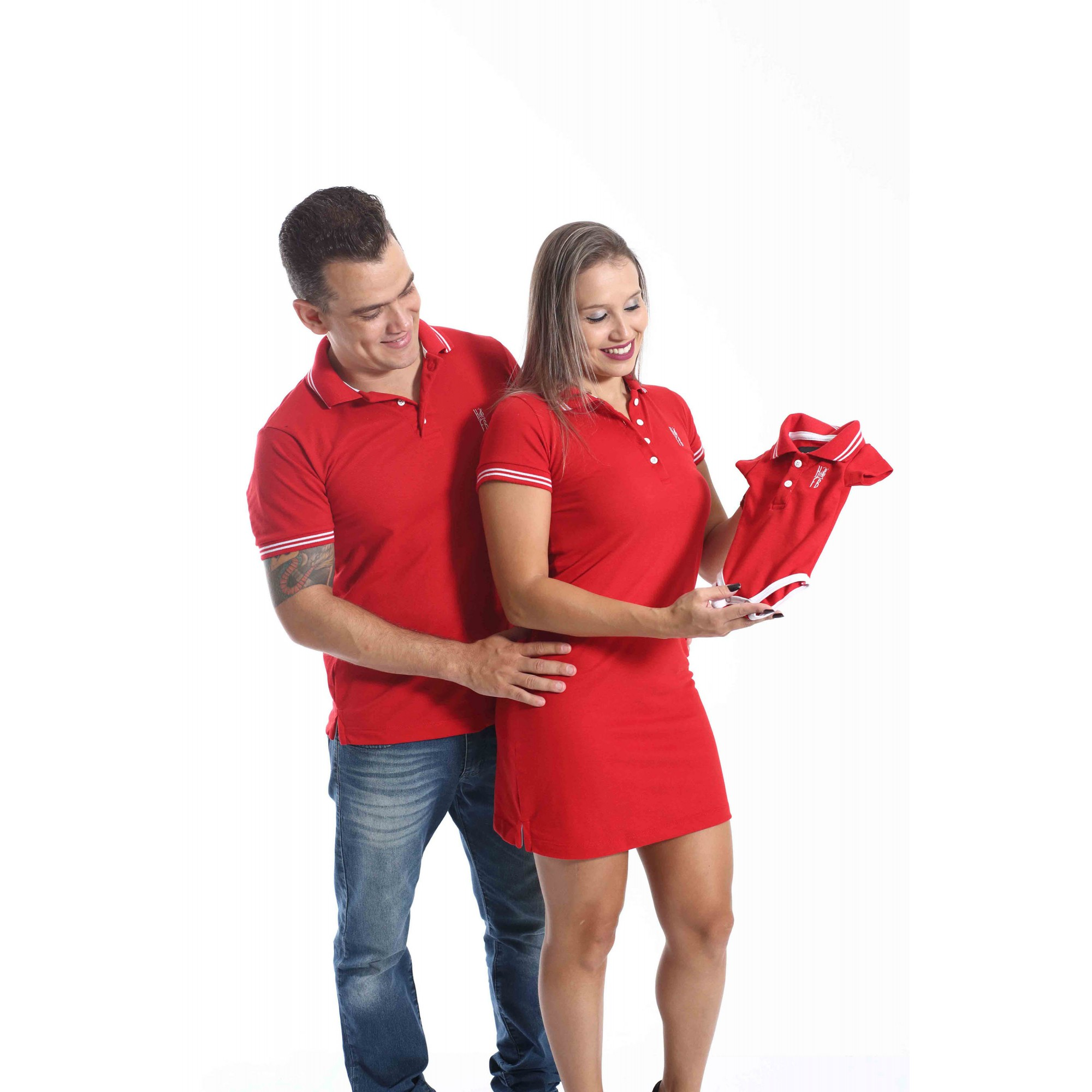PAIS E FILHOS > Kit 3 peças - Camisa + Body Unissex + Vestido Polo - Vermelho Paixão [Coleção Família]
