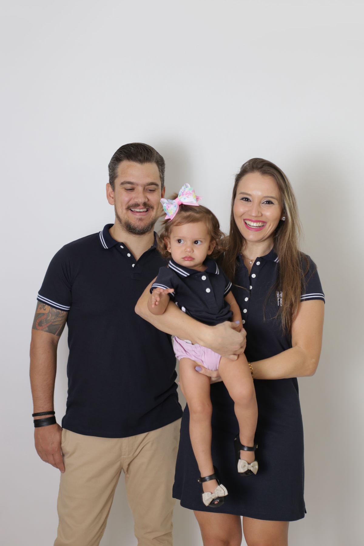 PAIS E FILHOS > Kit 3 peças Camisa e Vestidos Polo Azul Marinho Céu [Coleção Família]  - Heitor Fashion Brazil