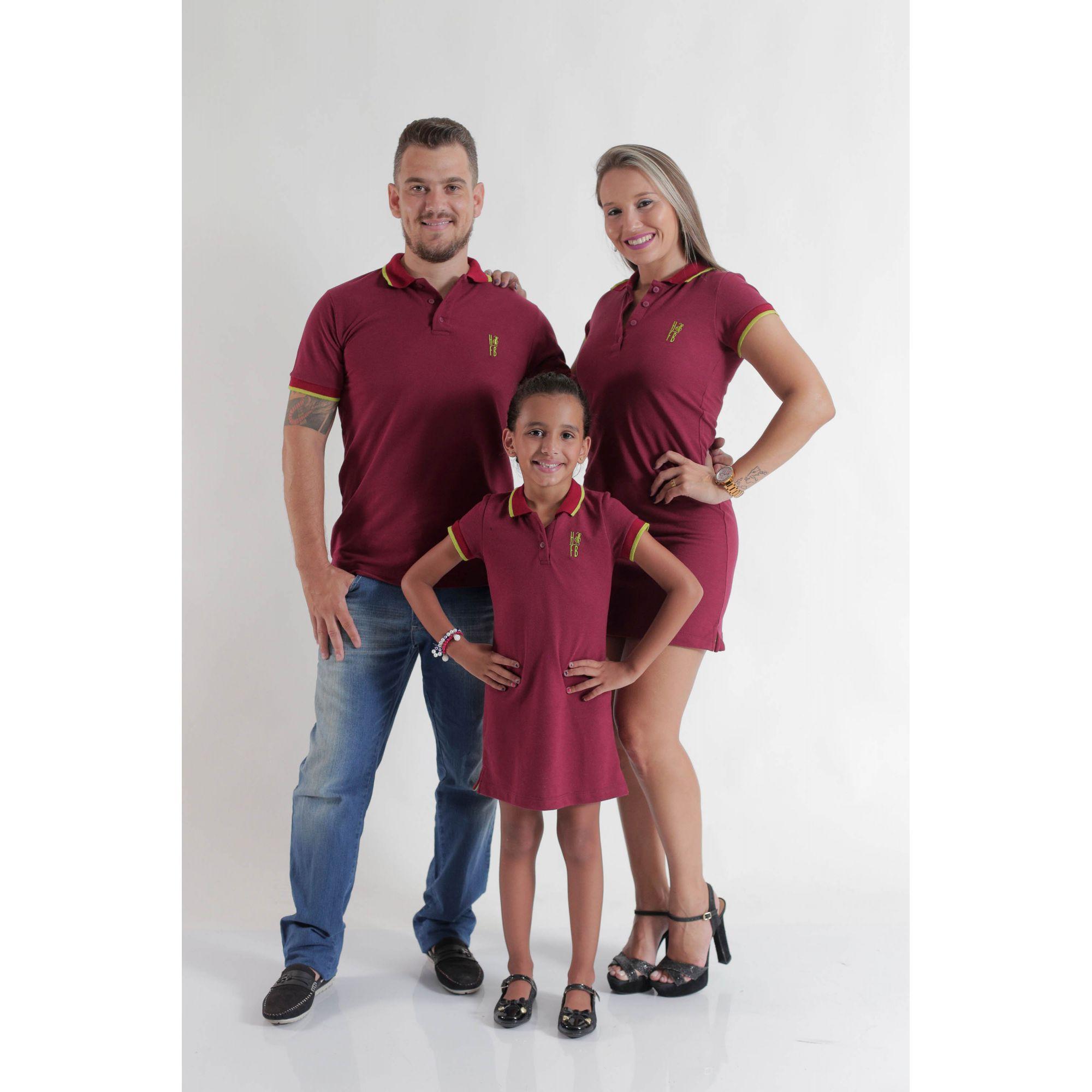 PAIS E FILHOS > Kit 3 peças Camisa e Vestidos Polo Bordo [Coleção Família]