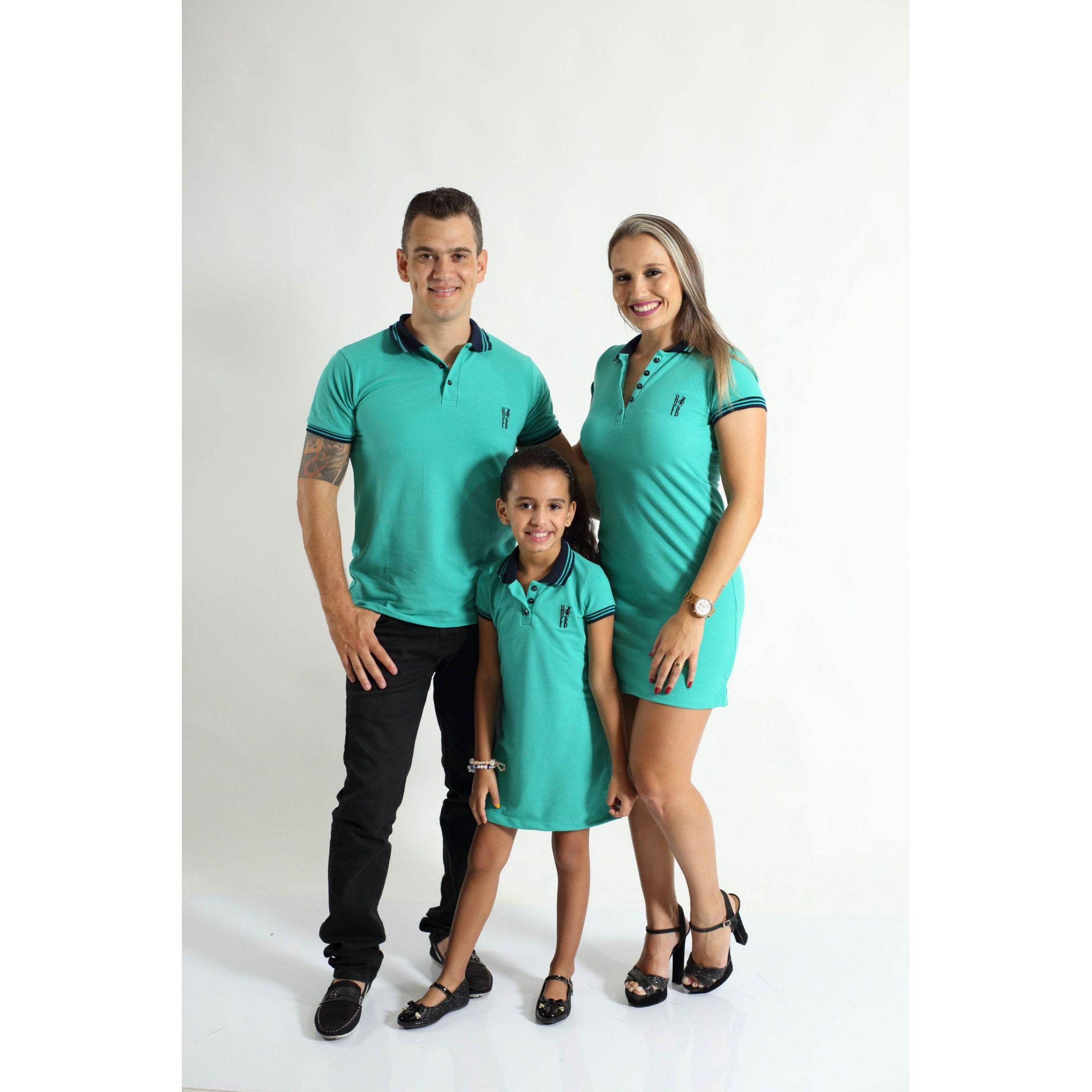 PAIS E FILHOS > Kit 3 peças Camisa e Vestidos Verde Jade [Coleção Família]  - Heitor Fashion Brazil