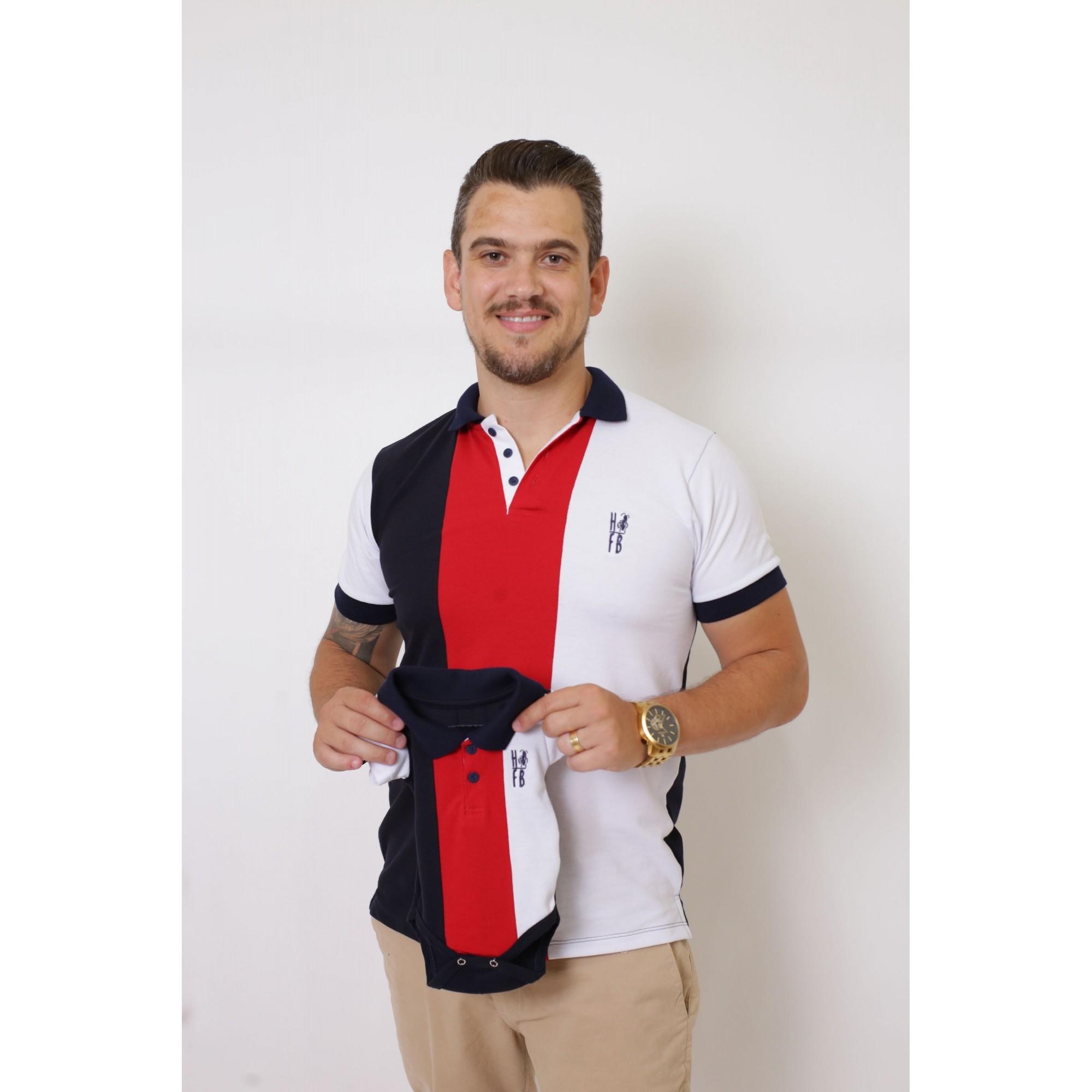 PAIS E FILHOS > Kit 3 peças - Camisa Masc + Camisa Fem + Body Polo - Listrados King [Coleção Família]  - Heitor Fashion Brazil