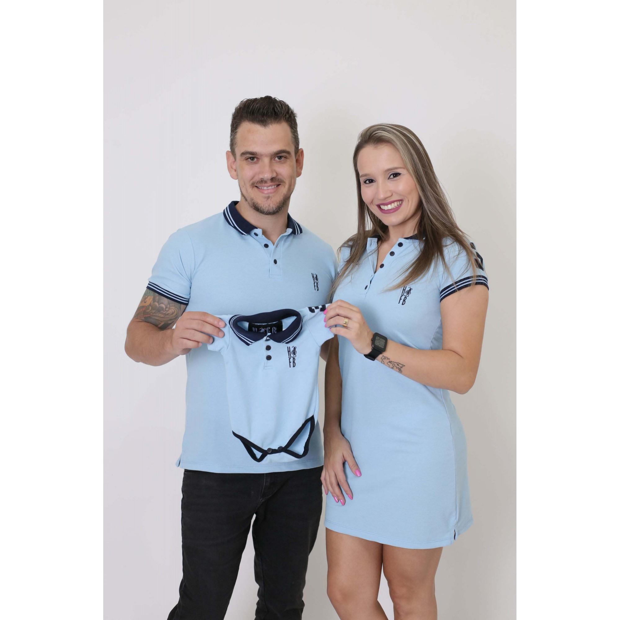 PAIS E FILHOS > Kit 3 Peças - Camisa + Vestido + Body Unissex - Azul Nobreza [Coleção Família]