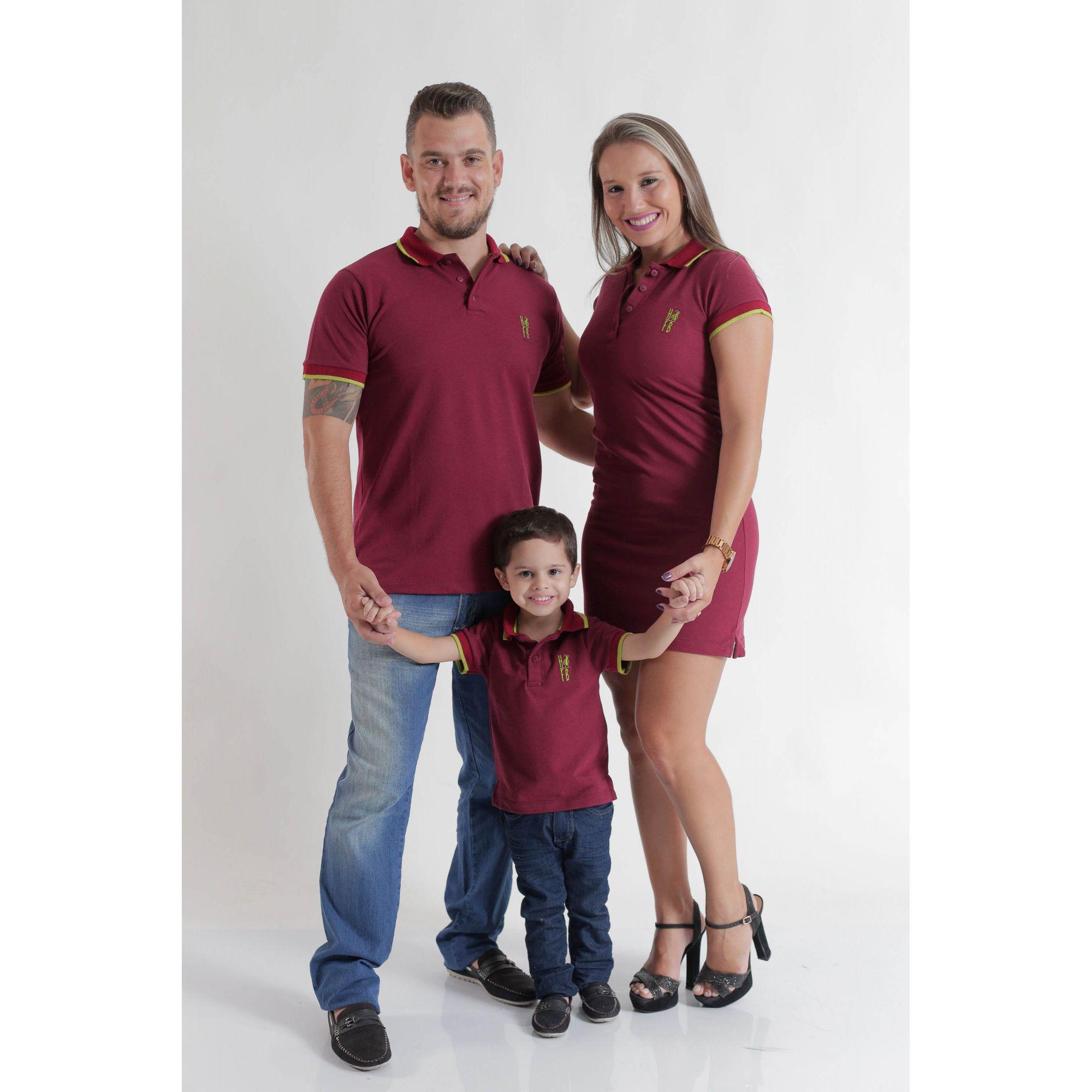 PAIS E FILHOS > Kit 3 peças Camisas ou Body Polo e Vestido Bordo [Coleção Família]