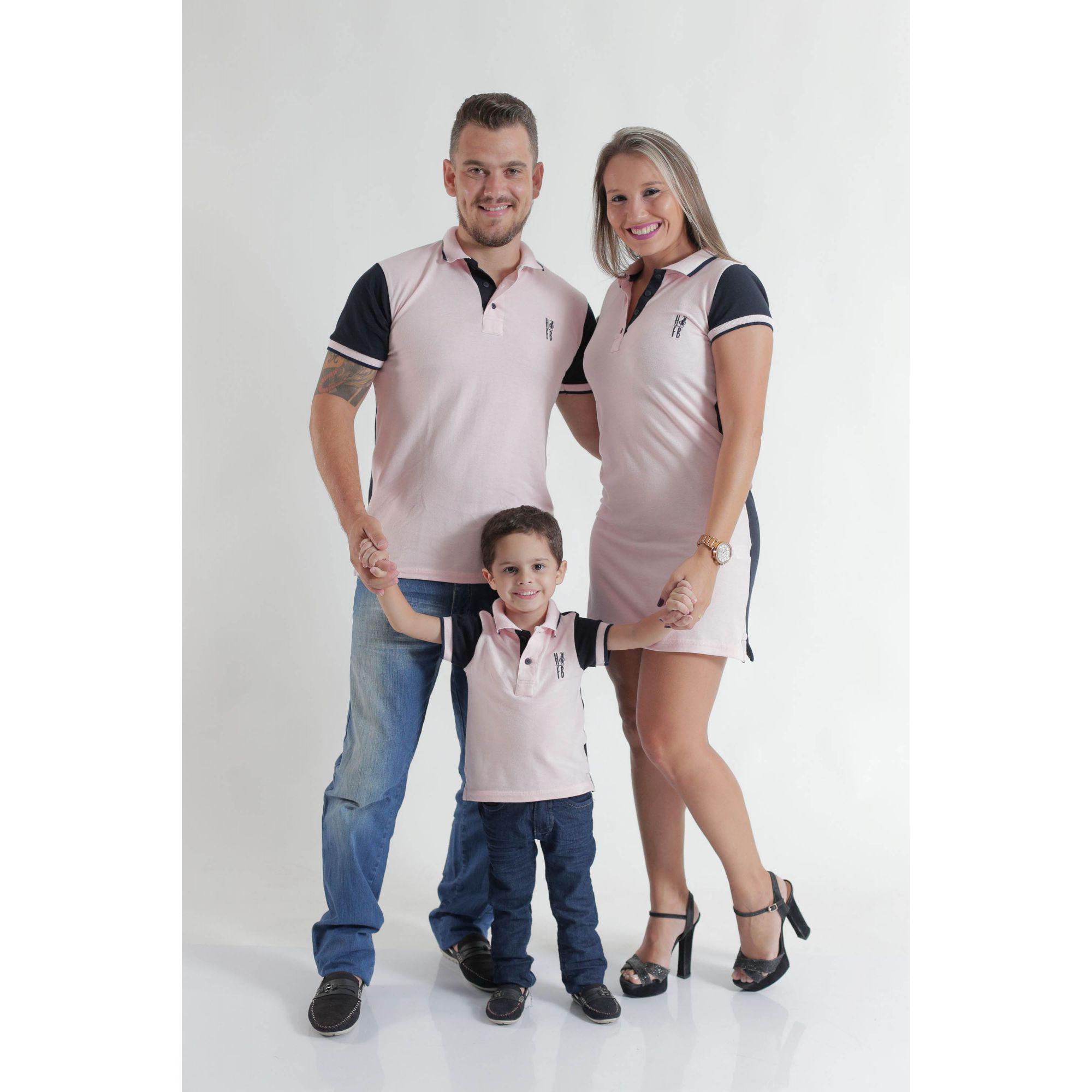 PAIS E FILHOS > Kit 3 peças Camisas ou Body Polo e Vestido Rosa com Azul Marinho [Coleção Família]