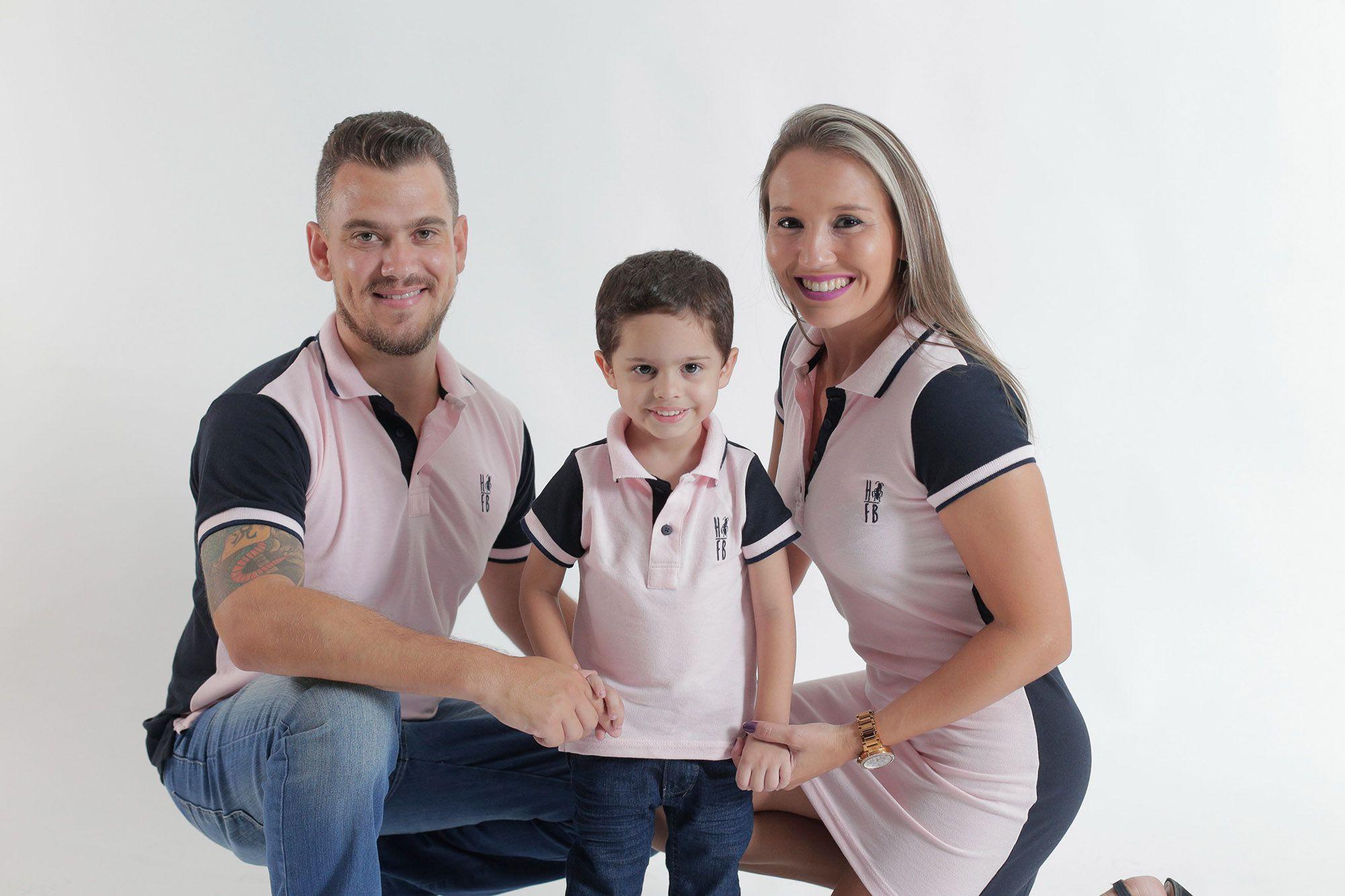 PAIS E FILHOS > Kit 3 peças Camisas e Vestido Polo Rosa com Azul Marinho Céu [Coleção Família]  - Heitor Fashion Brazil