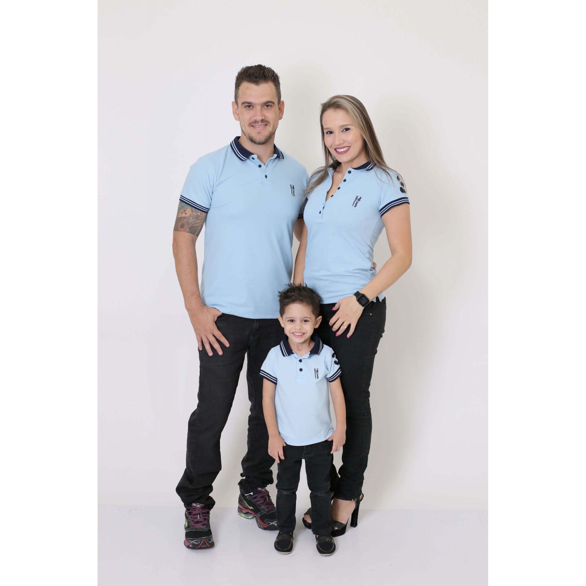 PAIS E FILHOS > Kit 3 peças Camisas ou Body Polo Azul Nobreza [Coleção Família]