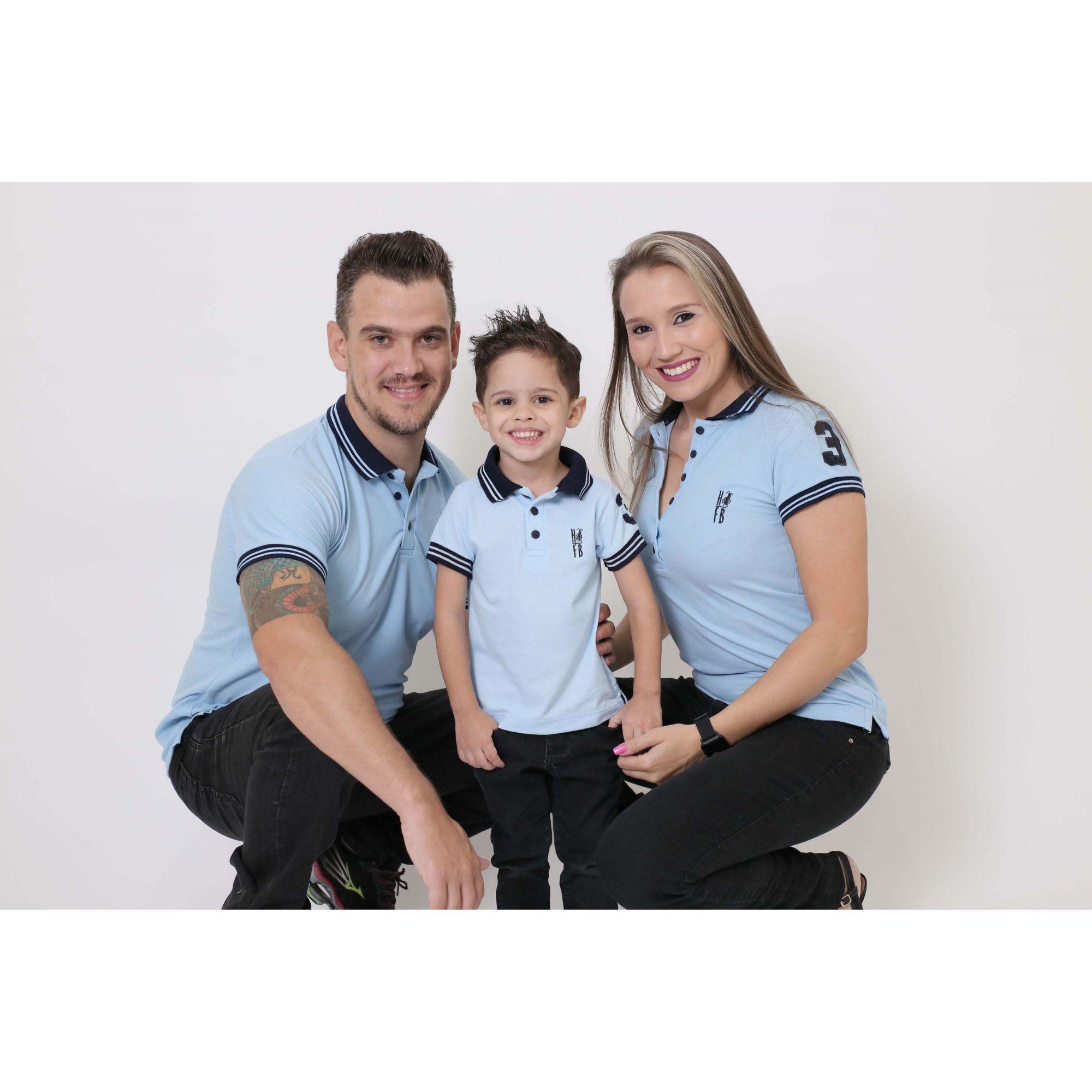 PAIS E FILHOS > Kit 3 peças Camisas ou Body Polo Azul Nobreza [Coleção Família]  - Heitor Fashion Brazil