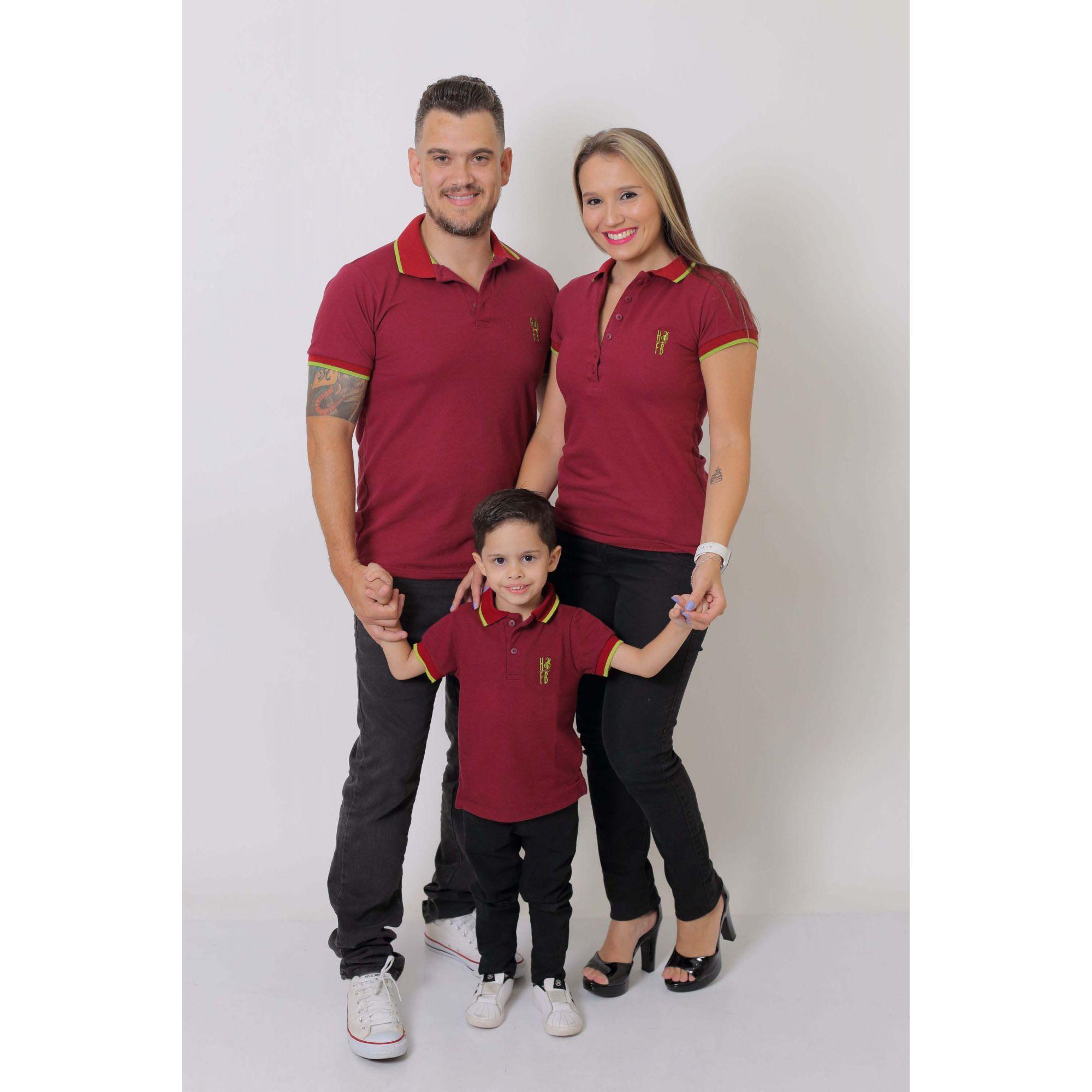 PAIS E FILHOS > Kit 3 peças Camisas ou Body Polo Bordo [Coleção Família]
