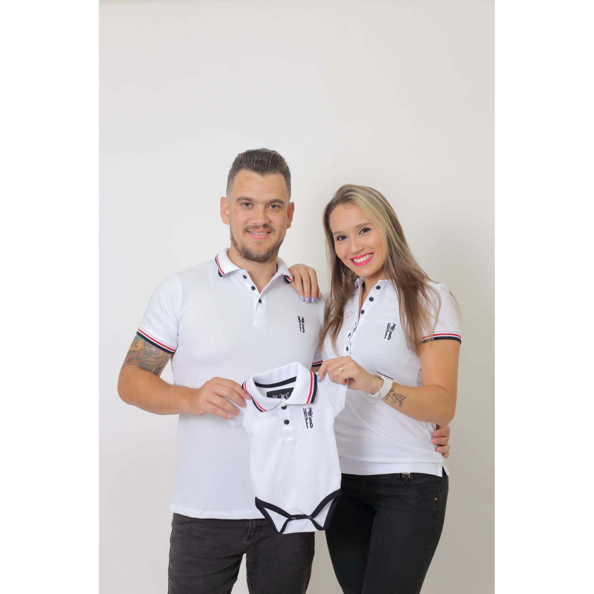 PAIS E FILHOS > Kit 3 peças Camisas ou Body Polo Branca [Coleção Família]  - Heitor Fashion Brazil