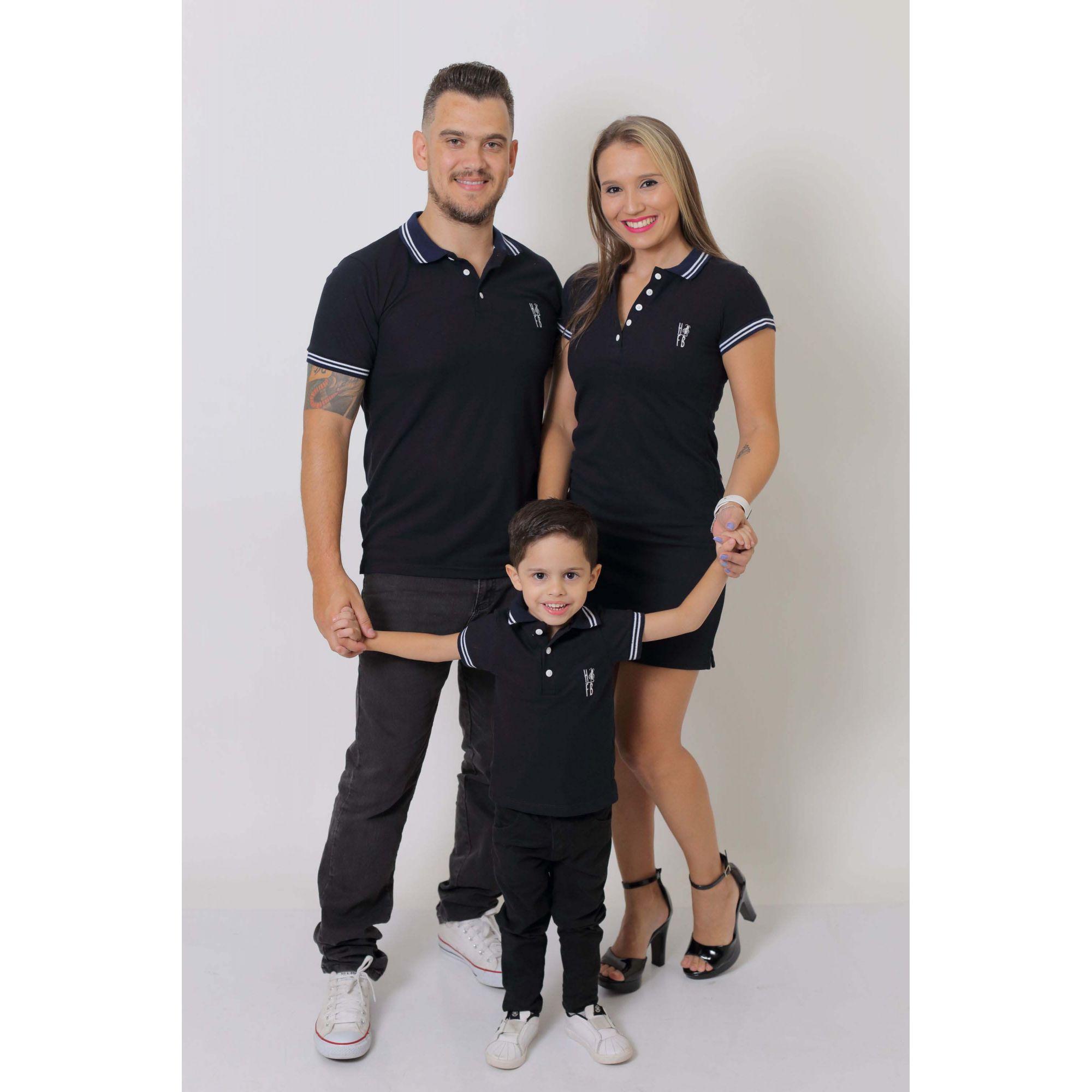 PAIS E FILHOS > Kit 3 peças Camisas ou Body Polo e Vestido Azul Marinho Céu [Coleção Família]