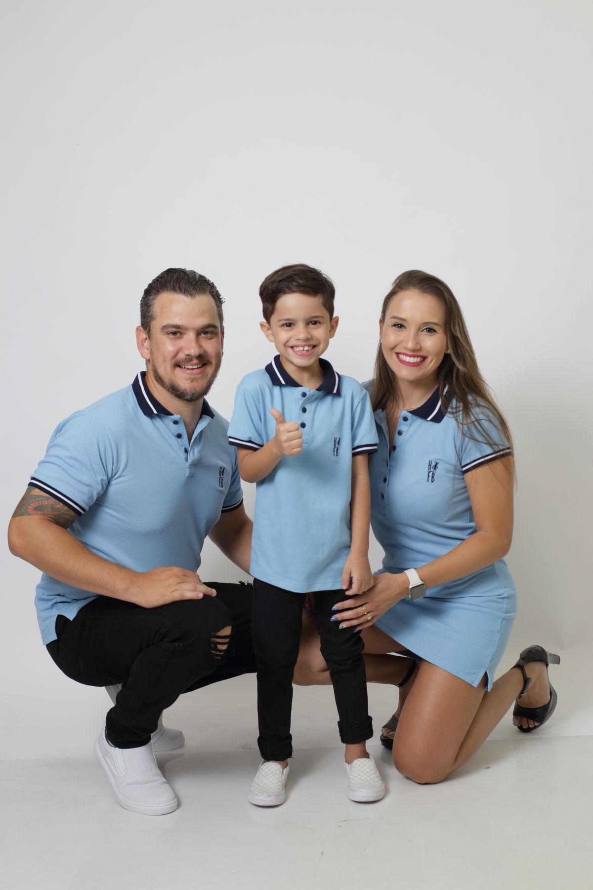 PAIS E FILHOS > Kit 3 peças Camisas ou Body Polo e Vestido Azul Nobreza