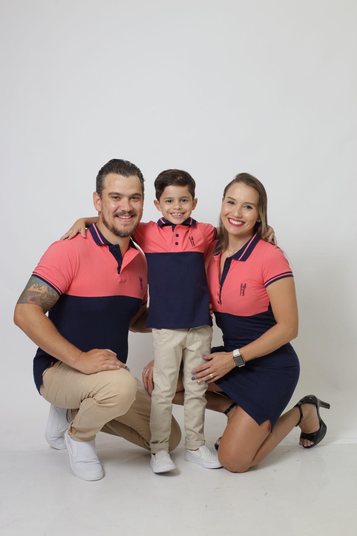 PAIS E FILHOS > Kit 3 peças Camisas ou Body Polo e Vestido Goiaba com Marinho PREMIUM