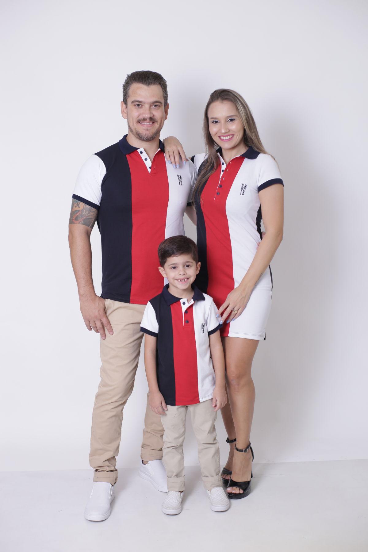 PAIS E FILHOS > Kit 3 peças Camisas ou Body Polo e Vestido - Listrados King [Coleção Família]