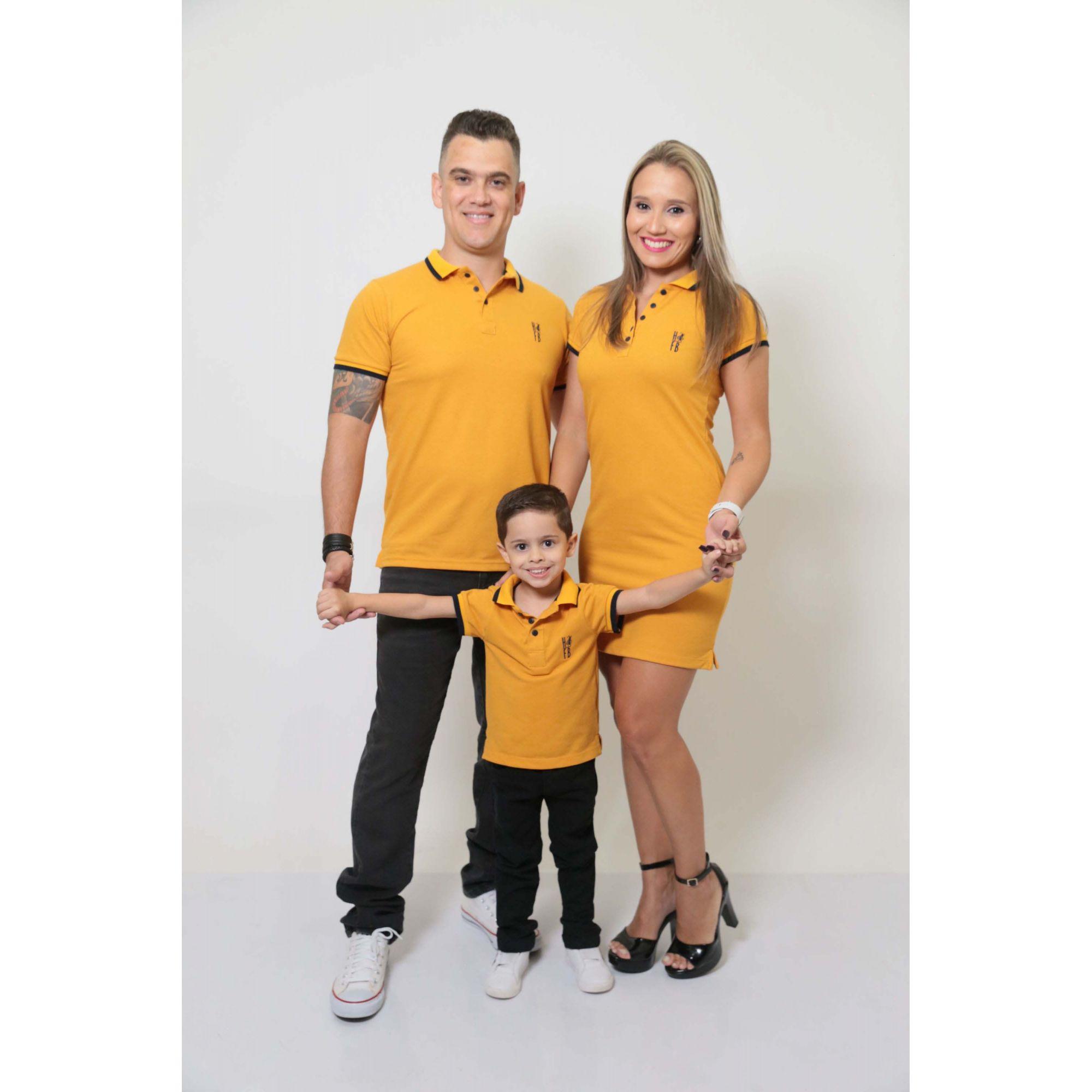 PAIS E FILHOS > Kit 3 peças Camisas ou Body Polo e Vestido Mostarda [Coleção Família]