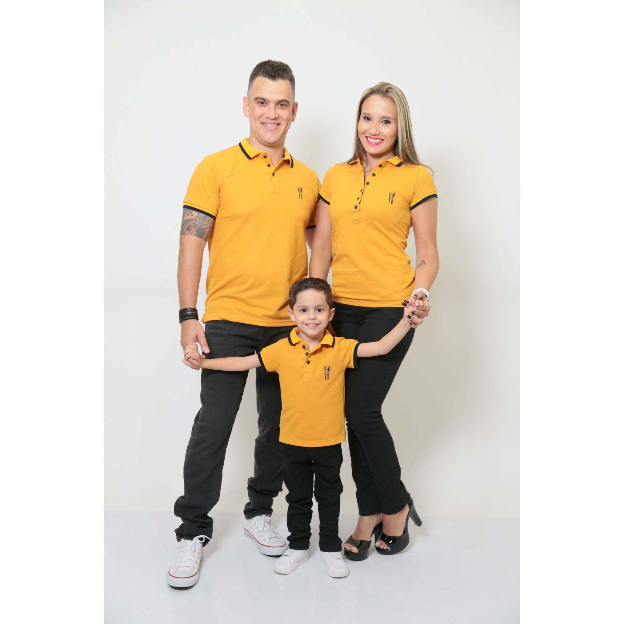 PAIS E FILHOS > Kit 3 peças Camisas ou Body Polo Mostarda [Coleção Família]
