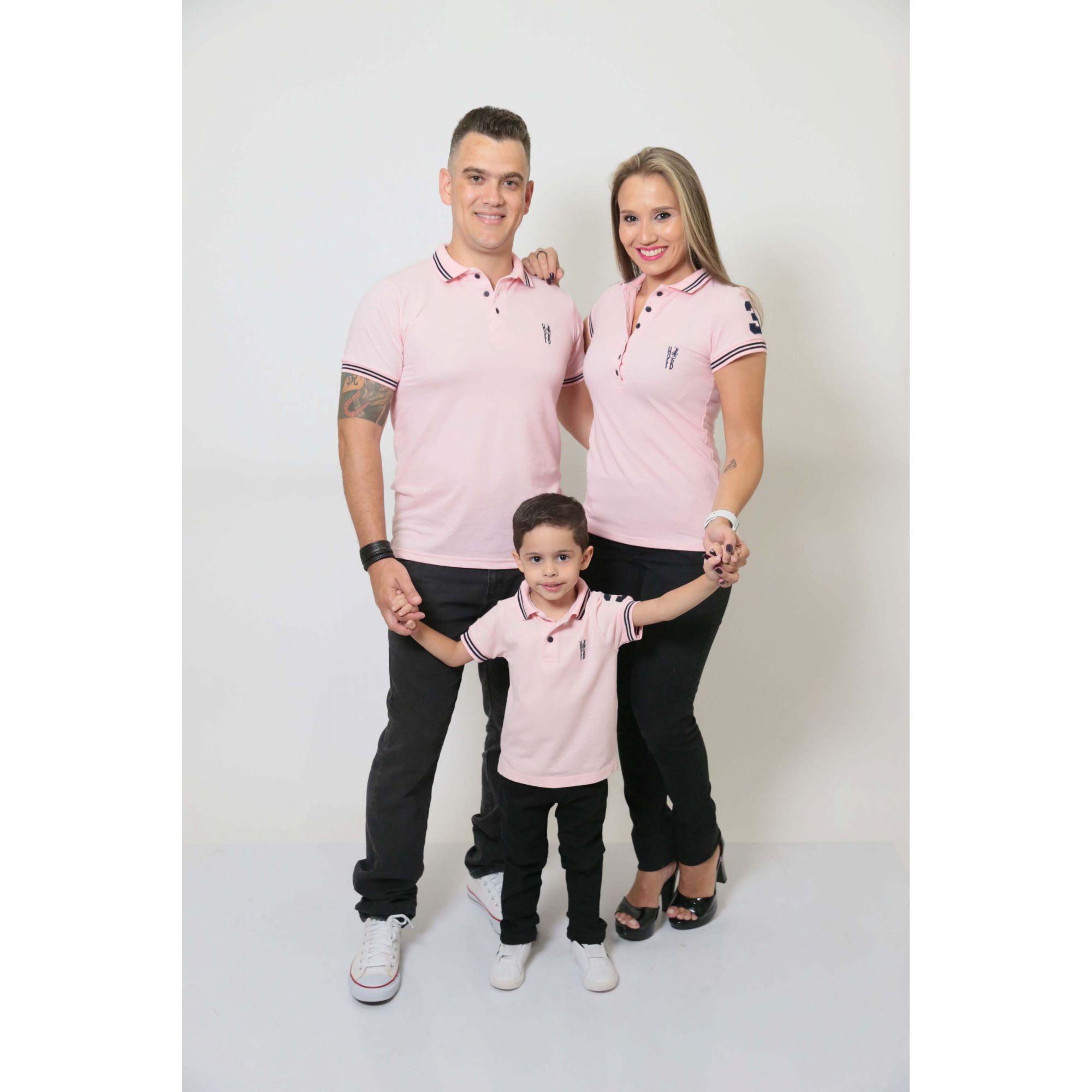 PAIS E FILHOS > Kit 3 peças Camisas ou Body Polo Rosa Amor [Coleção Família]