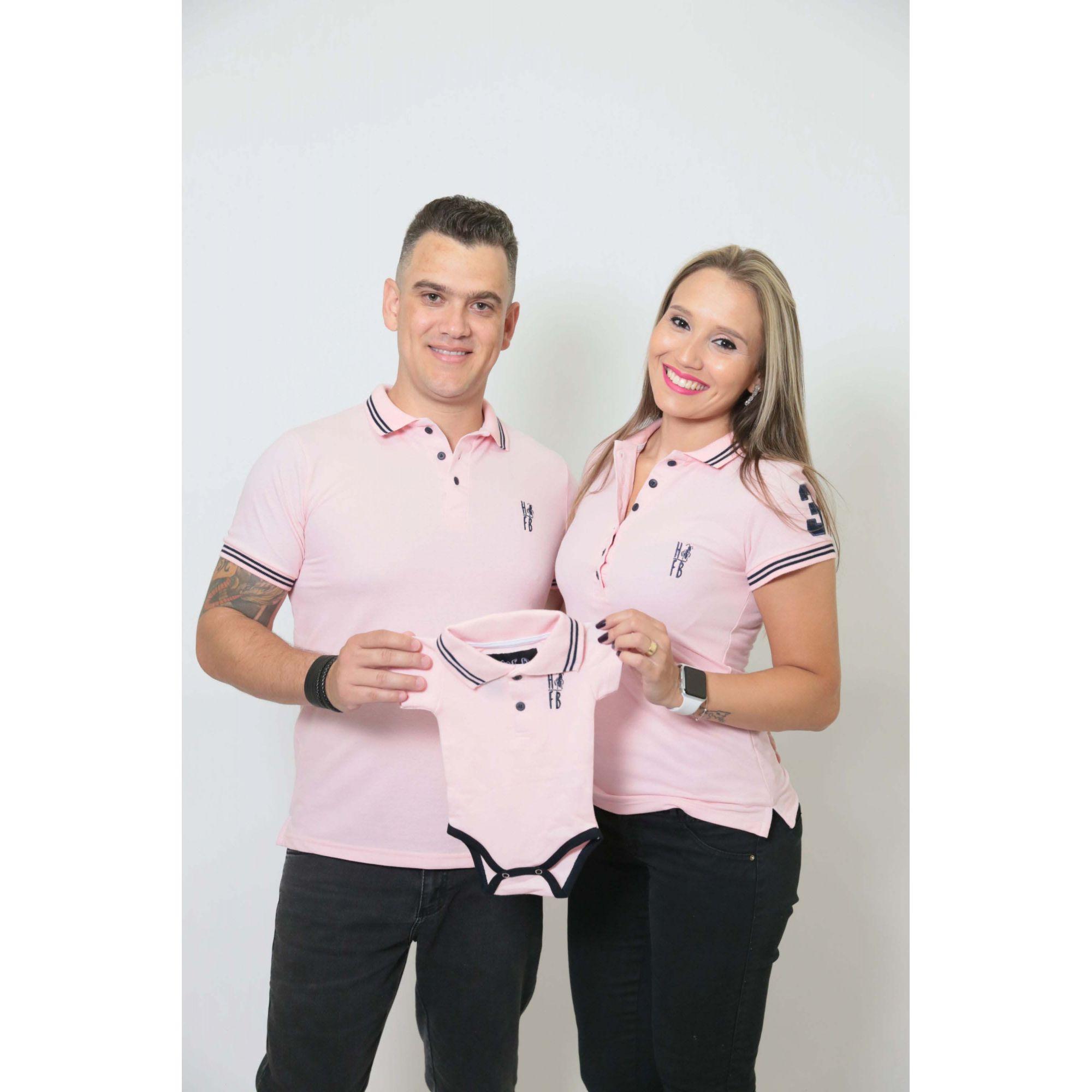 PAIS E FILHOS > Kit 3 peças Camisas ou Body Polo Rosa Amor [Coleção Família]  - Heitor Fashion Brazil