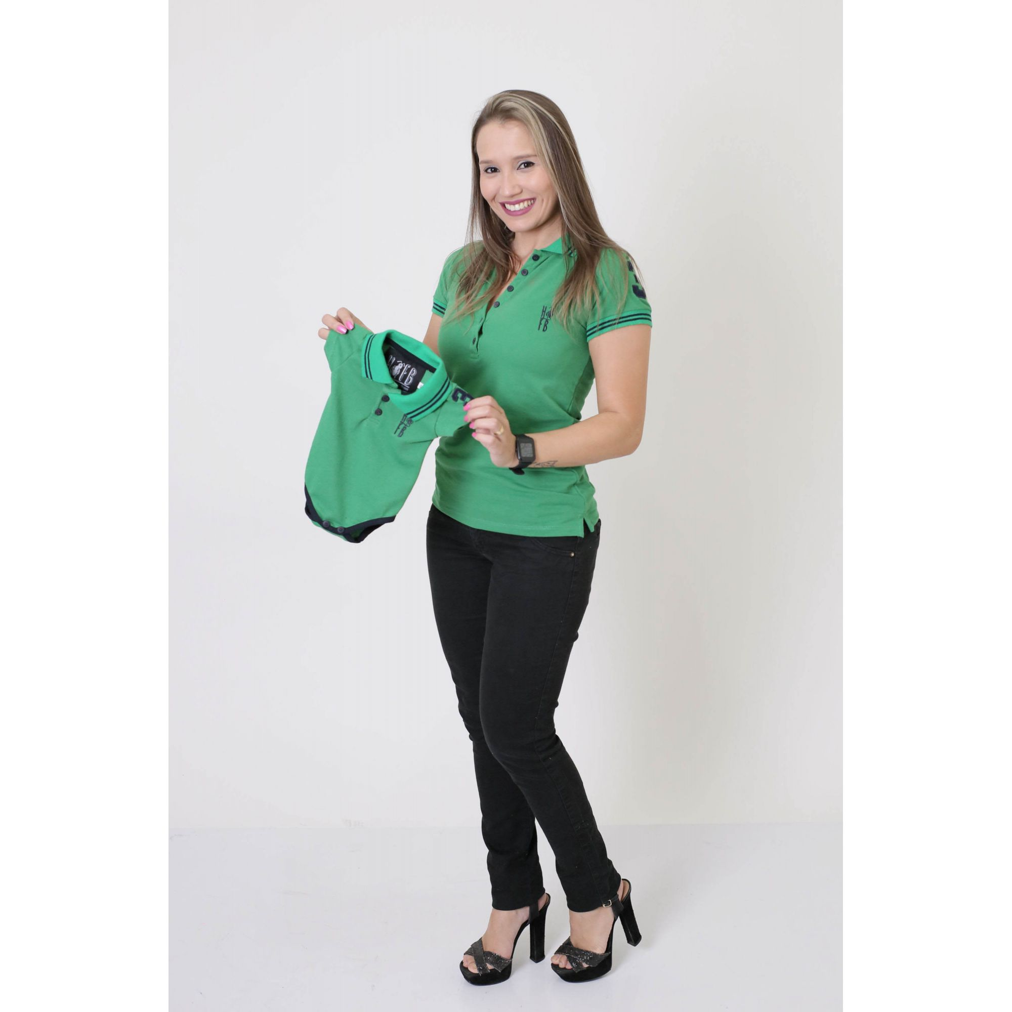 PAIS E FILHOS > Kit 3 peças Camisas ou Body Polo Verde Esperança [Coleção Família]  - Heitor Fashion Brazil