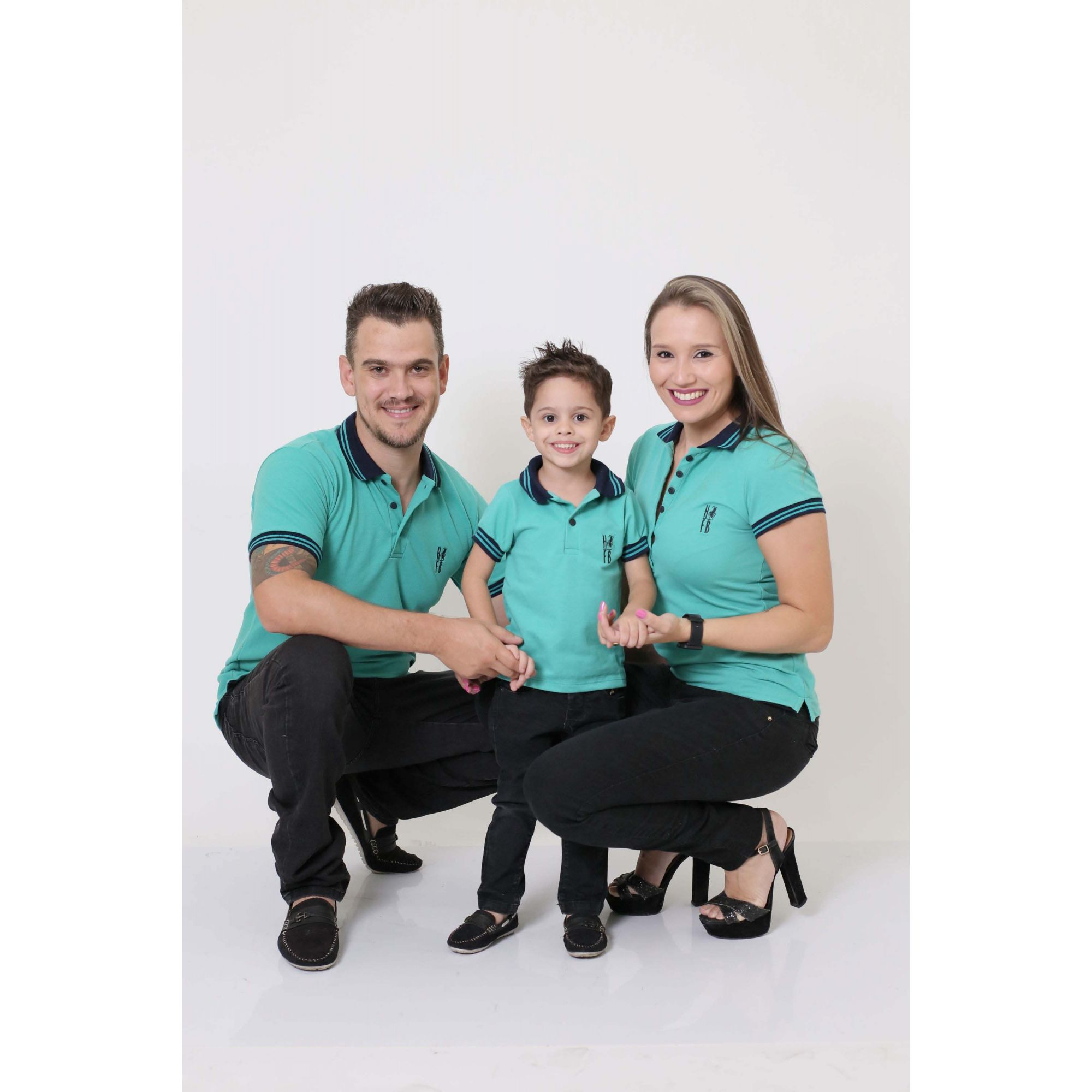 PAIS E FILHOS > Kit 3 peças Camisas ou Body Polo Verde Jade [Coleção Família]  - Heitor Fashion Brazil