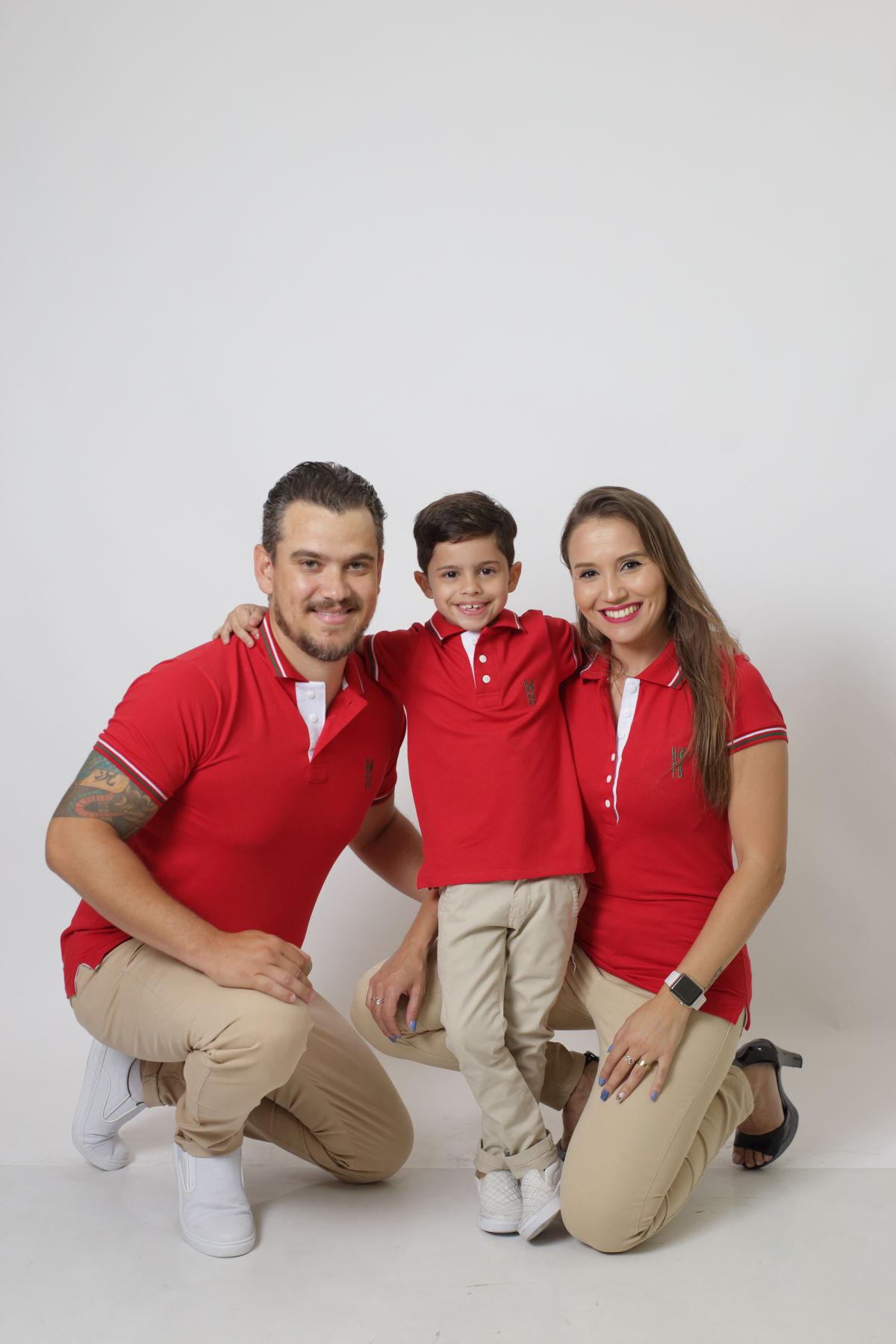 PAIS E FILHOS > Kit 3 peças Camisas ou Body Polo Vermelho PREMIUM