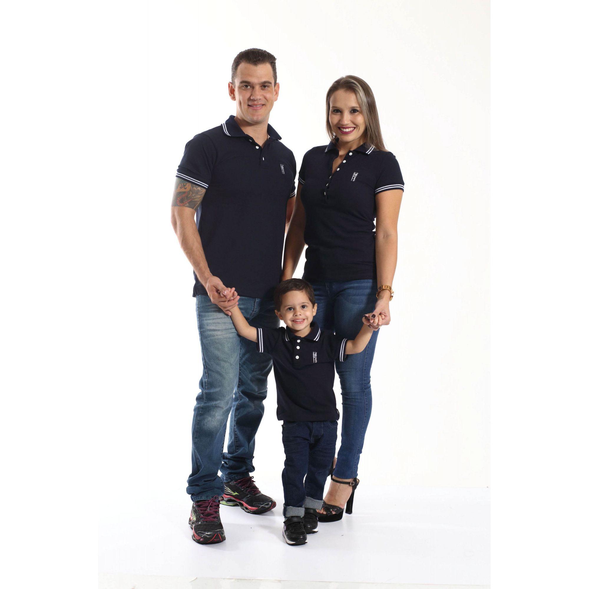 3fe636669a PAIS E FILHOS   Kit 3 peças Camisas ou Body Polo Azul Marinho Céu  Coleção  ...