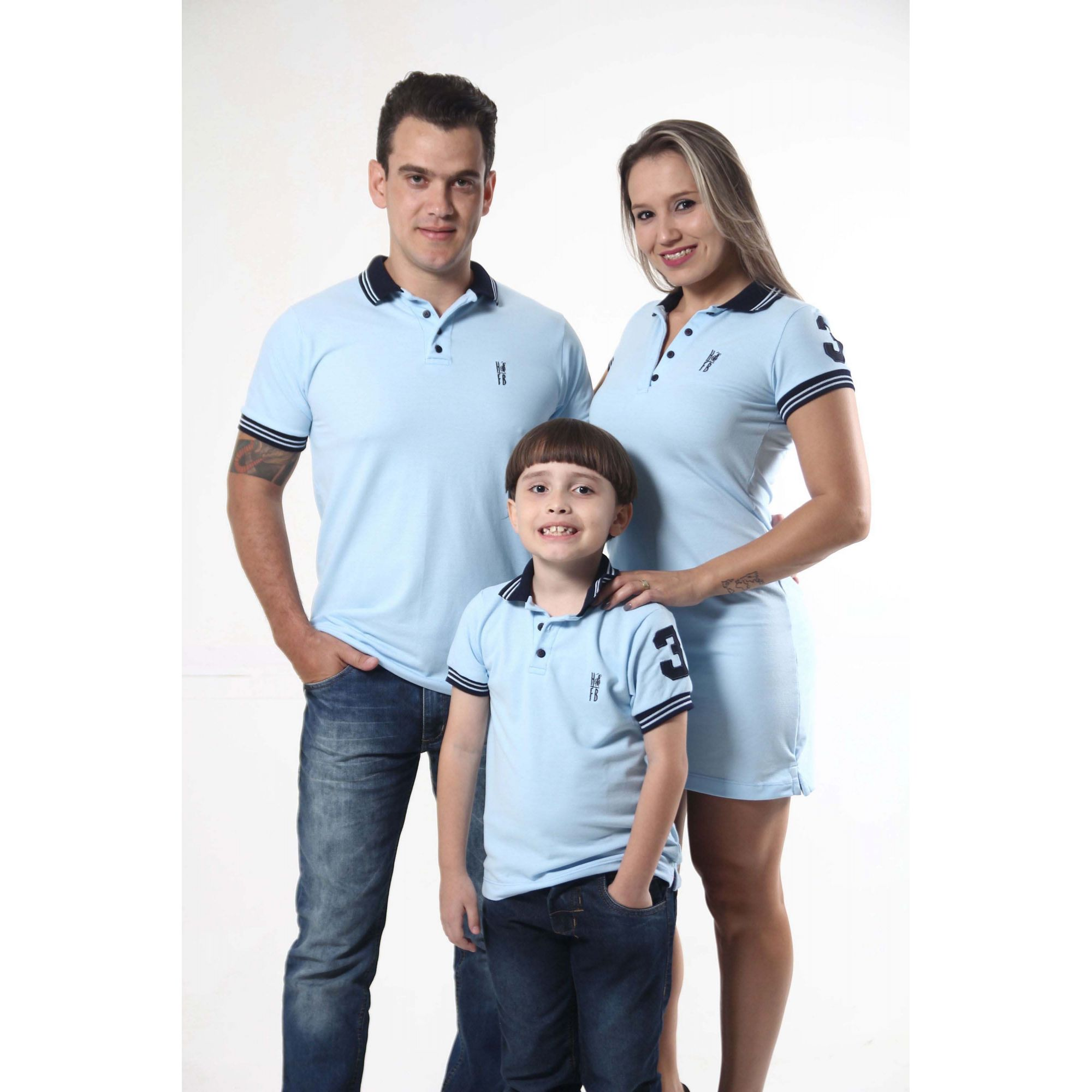 PAIS E FILHOS > Kit 3 peças Camisas Polo e Vestido Azul Nobreza [Coleção Família]  - Heitor Fashion Brazil