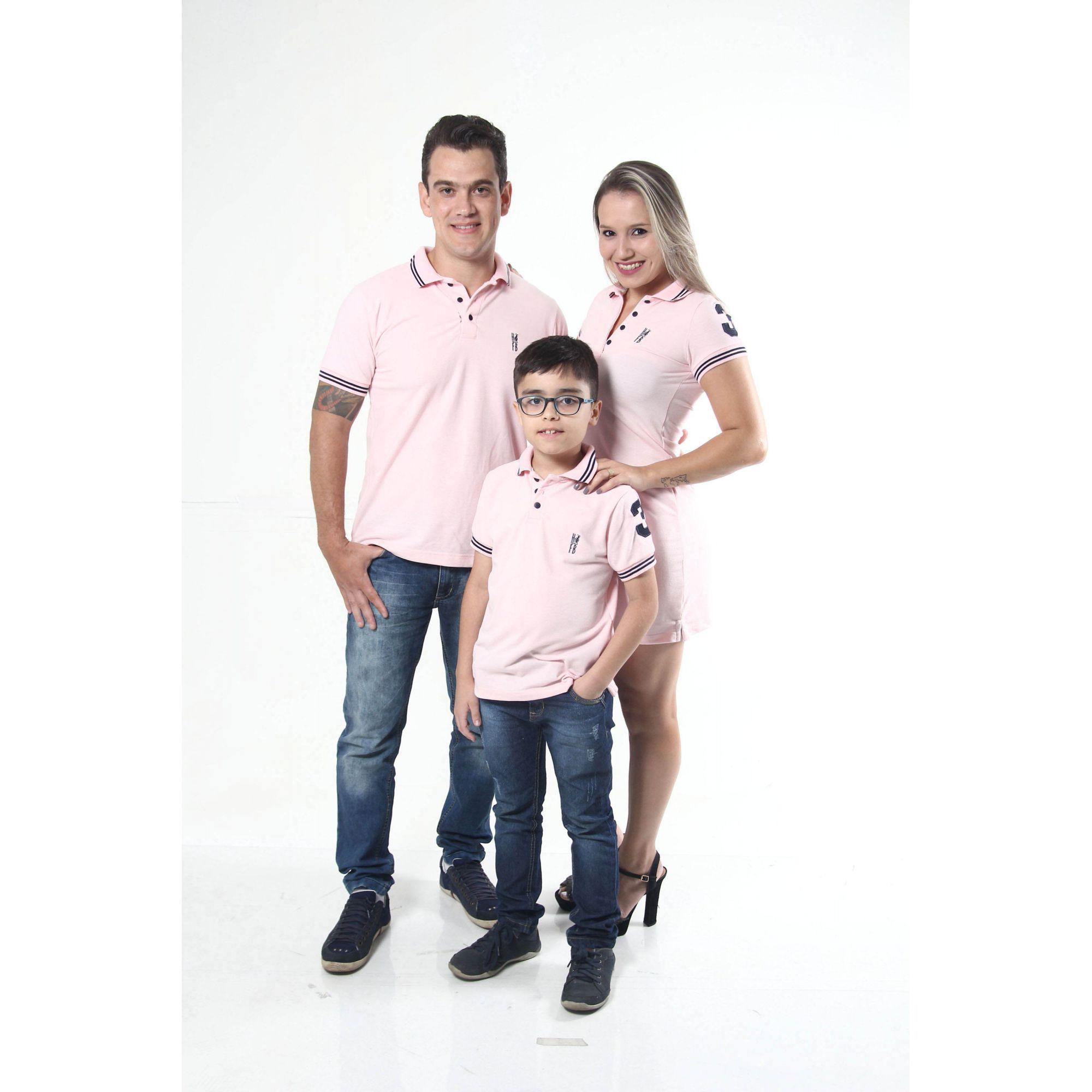 PAIS E FILHOS > Kit 3 peças Camisas ou Body Polo e Vestido Rosa Amor [Coleção Família]