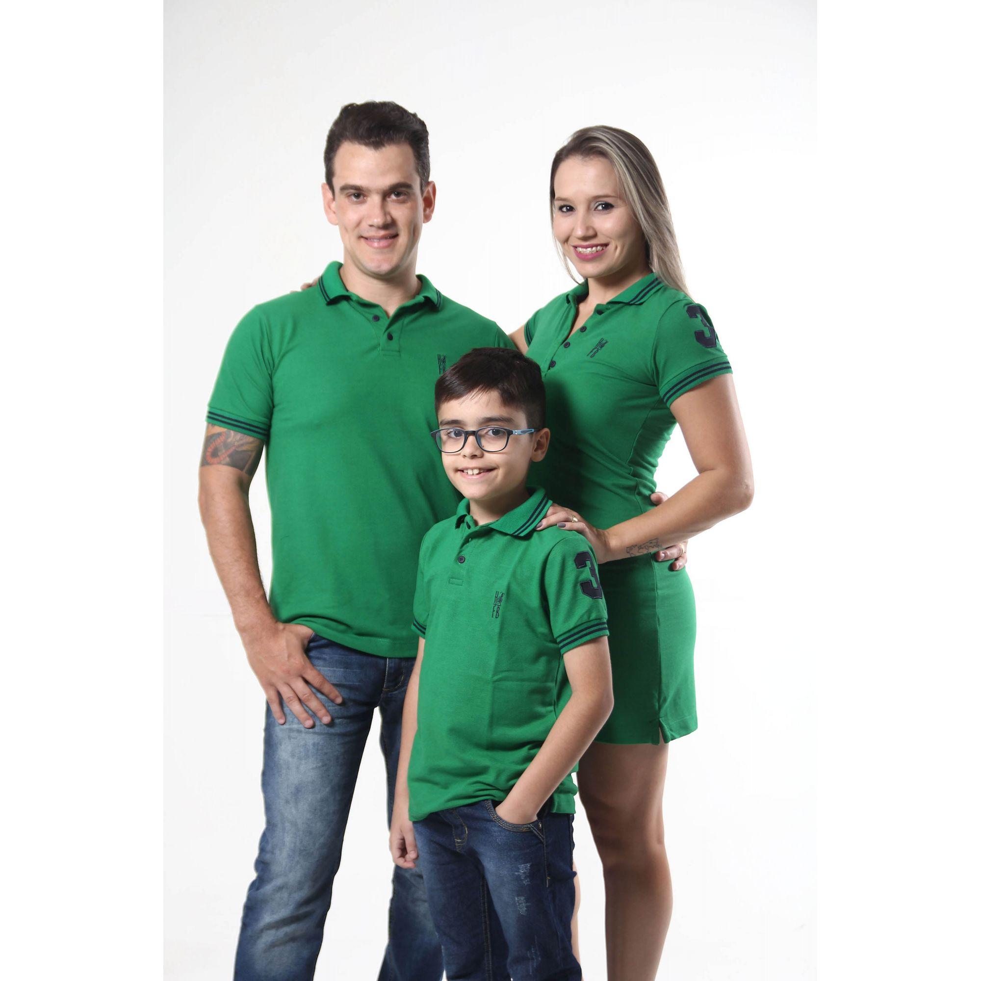PAIS E FILHOS > Kit 3 peças Camisas ou Body Polo e Vestido Verde Esperança [Coleção Família]  - Heitor Fashion Brazil