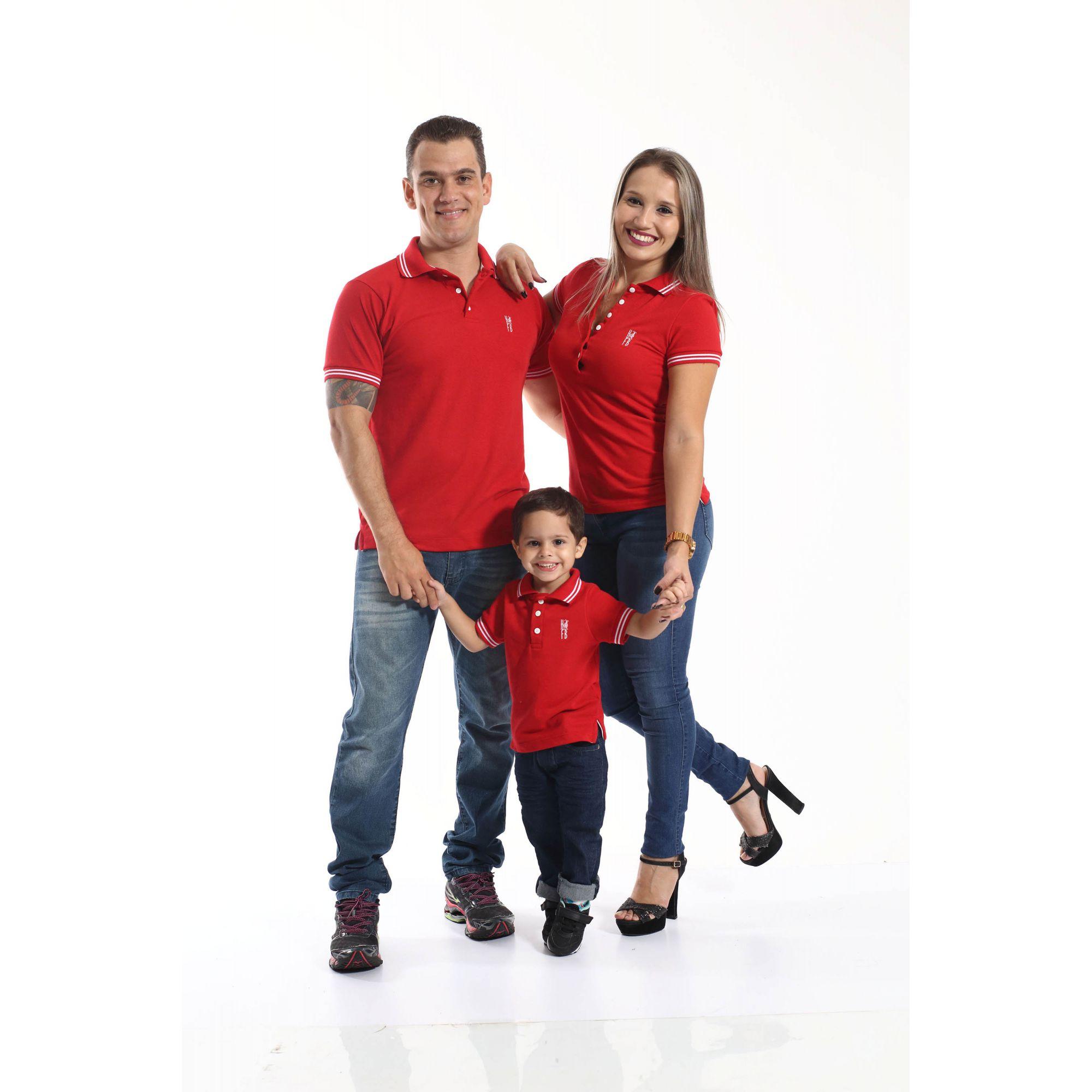 PAIS E FILHOS > Kit 3 peças Camisas ou Body Polo Vermelho Paixão [Coleção Família]