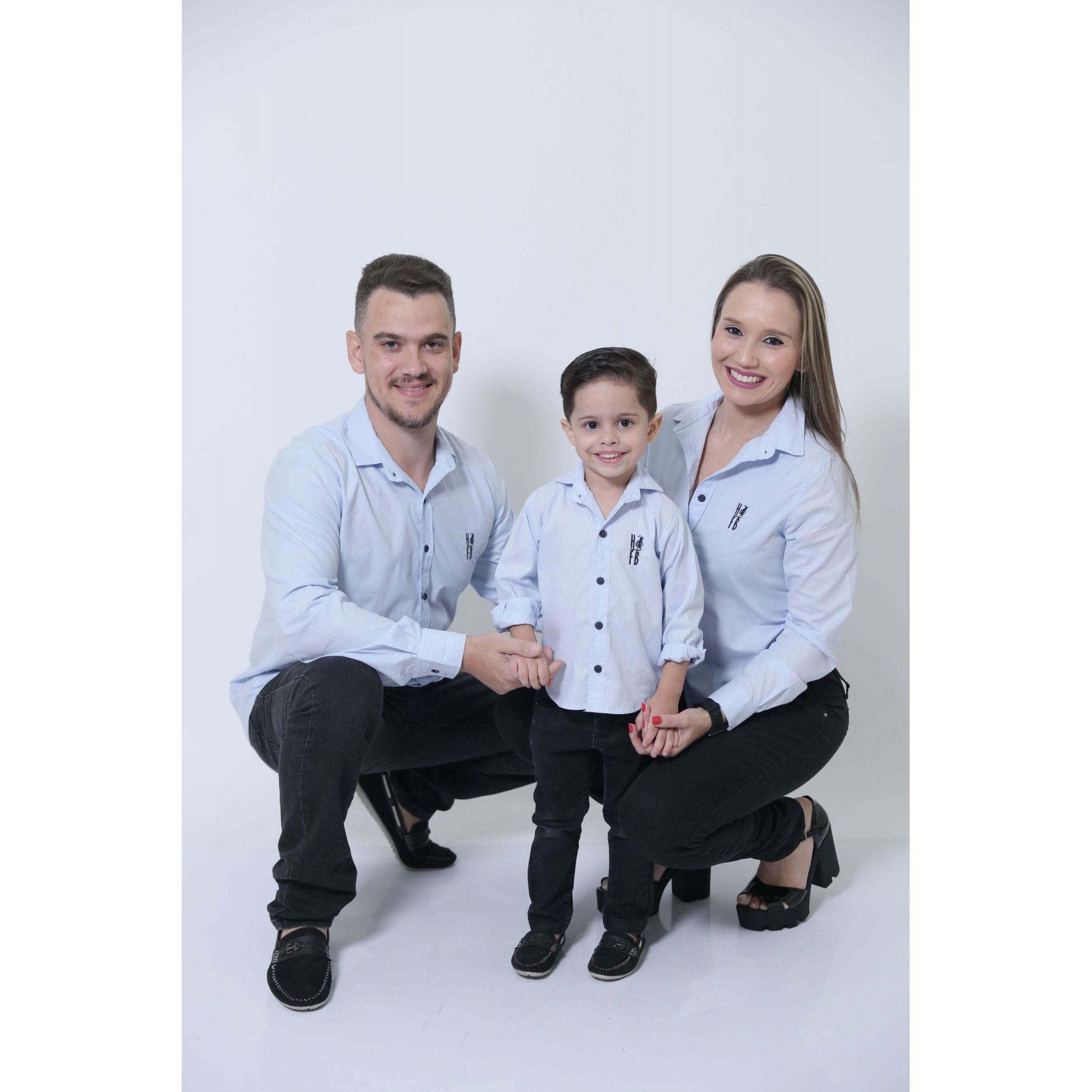 PAIS E FILHOS > Kit 3 peças Camisas Social Azul Claro Bebê [Coleção Família]