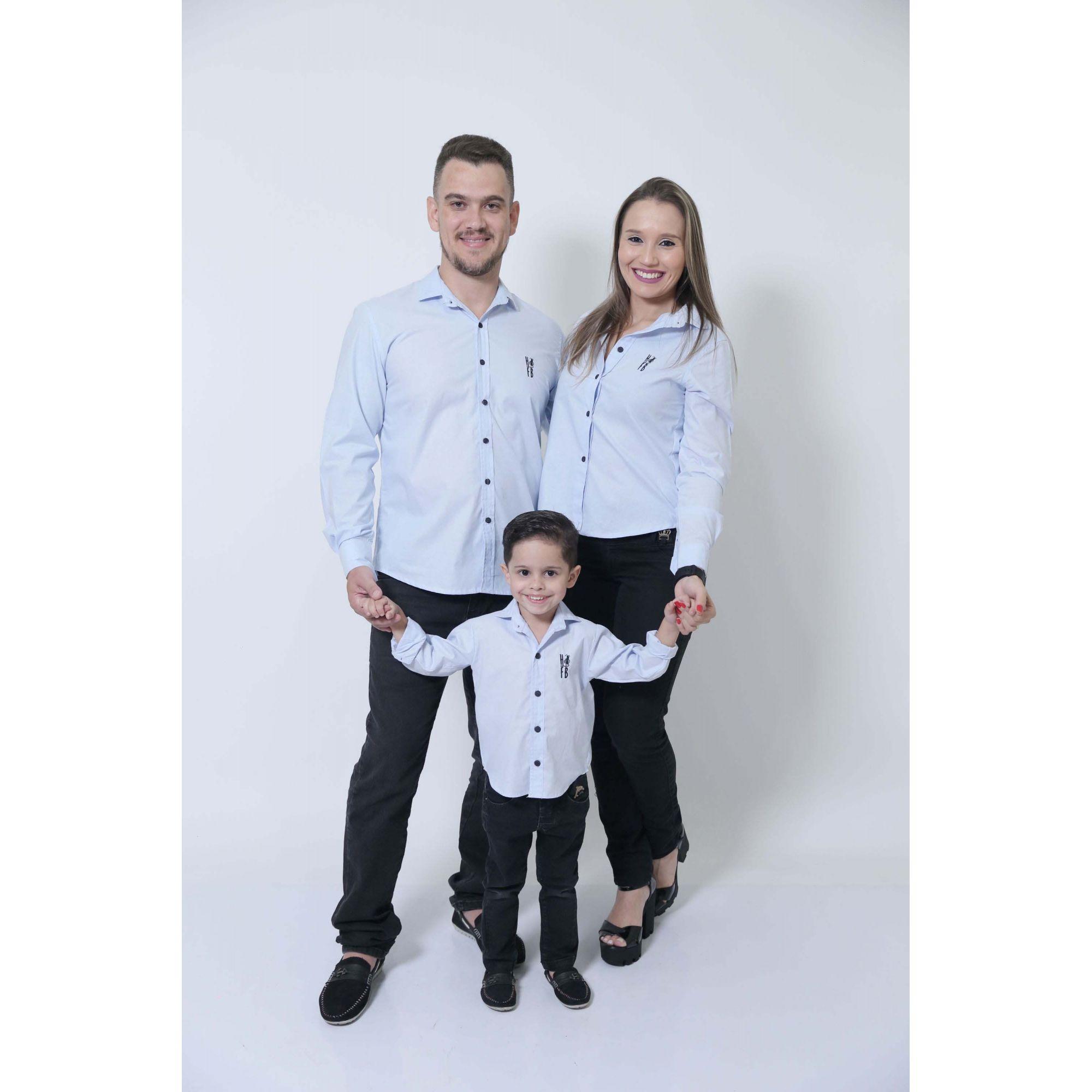 PAIS E FILHOS > Kit 3 peças Camisas Social Azul Claro Bebê [Coleção Família]  - Heitor Fashion Brazil