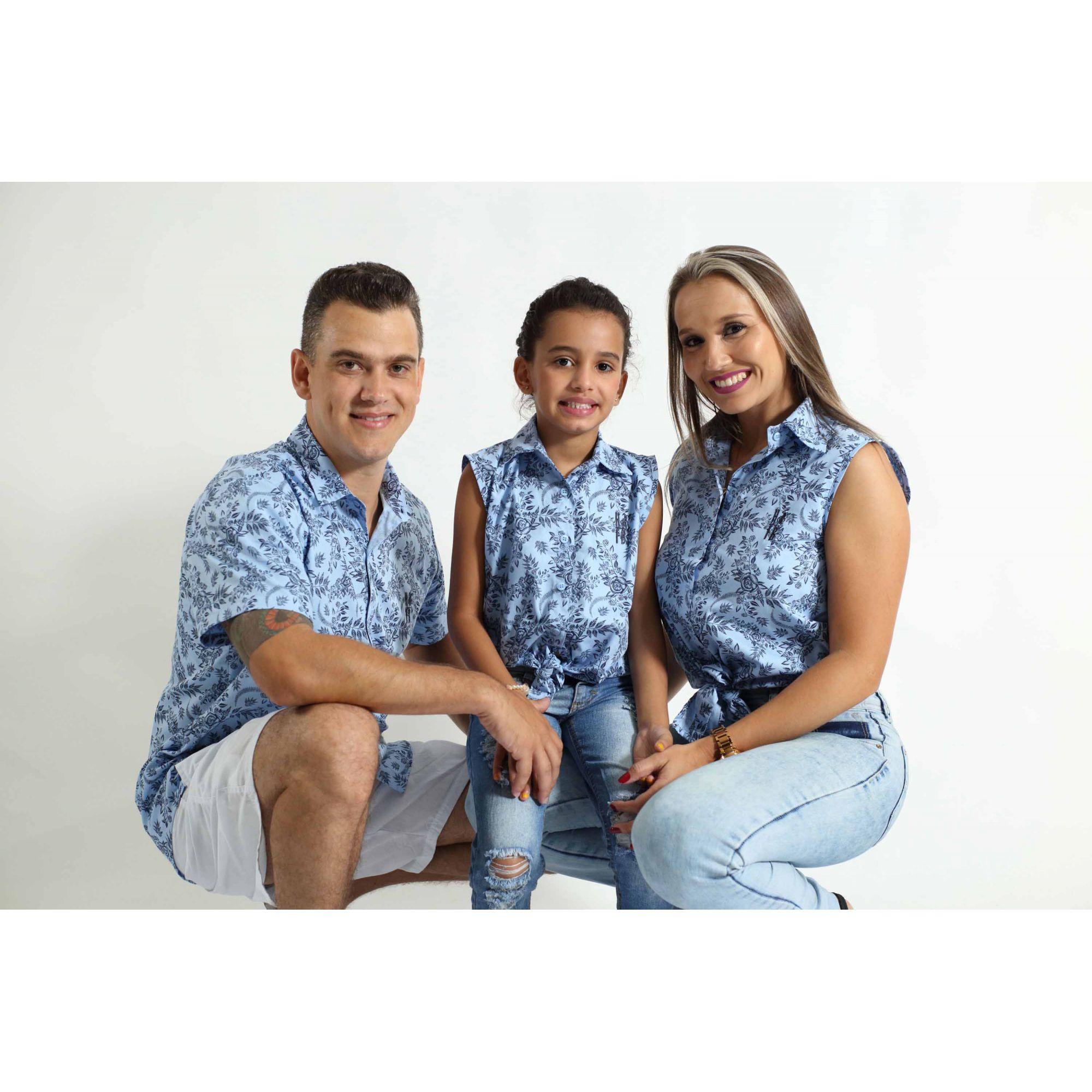 PAIS E FILHAS > Kit 3 peças Camisas Social Azul Floral [Coleção Família]  - Heitor Fashion Brazil