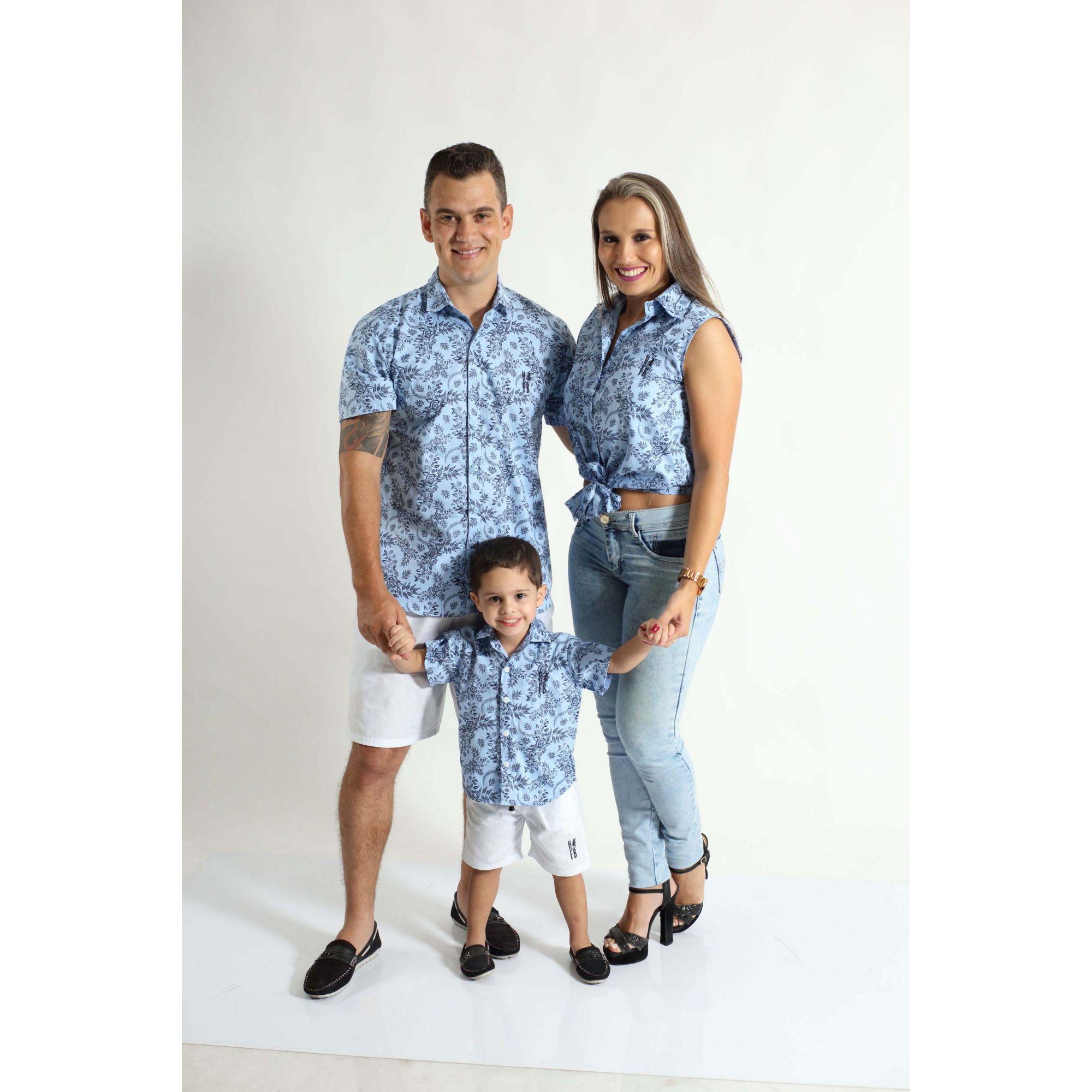 PAIS E FILHOS > Kit 3 peças Camisas Social Azul Floral [Coleção Família]  - Heitor Fashion Brazil