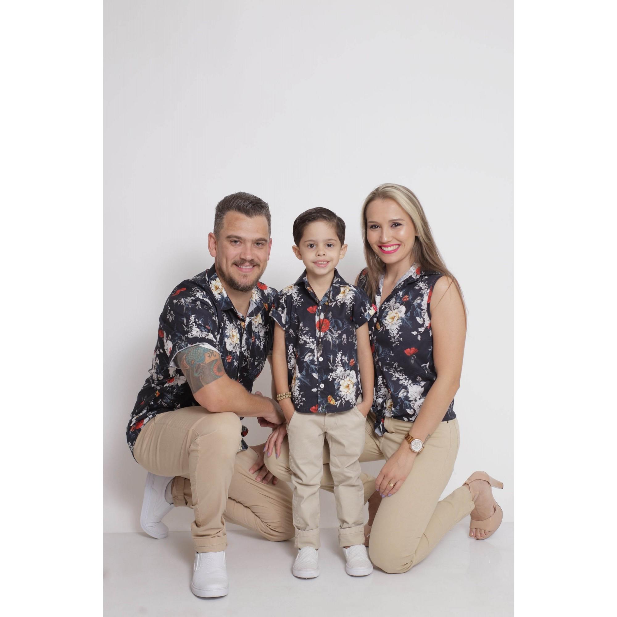 PAIS E FILHOS > Kit 3 peças Camisas Social Preta Floral [Coleção Família]  - Heitor Fashion Brazil