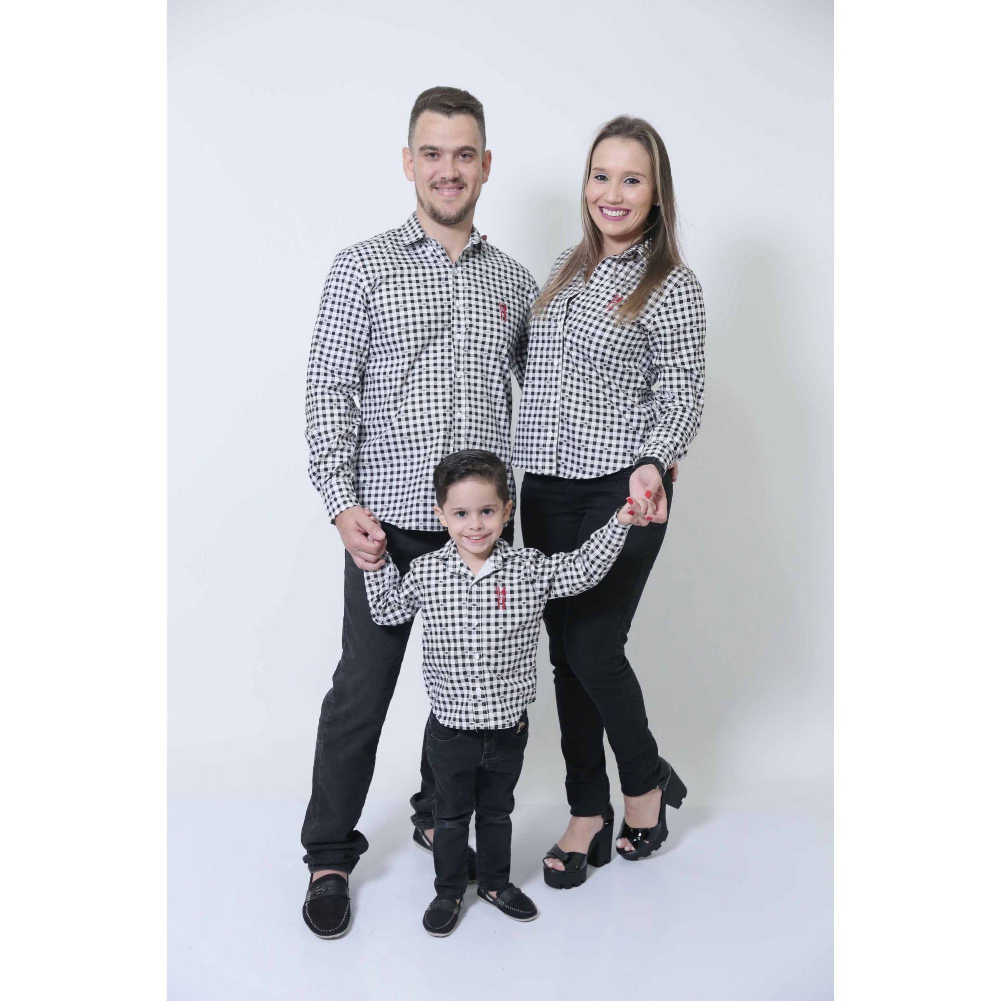 PAIS E FILHOS > Kit 3 peças Camisas Social Xadrez Dama [Coleção Família]