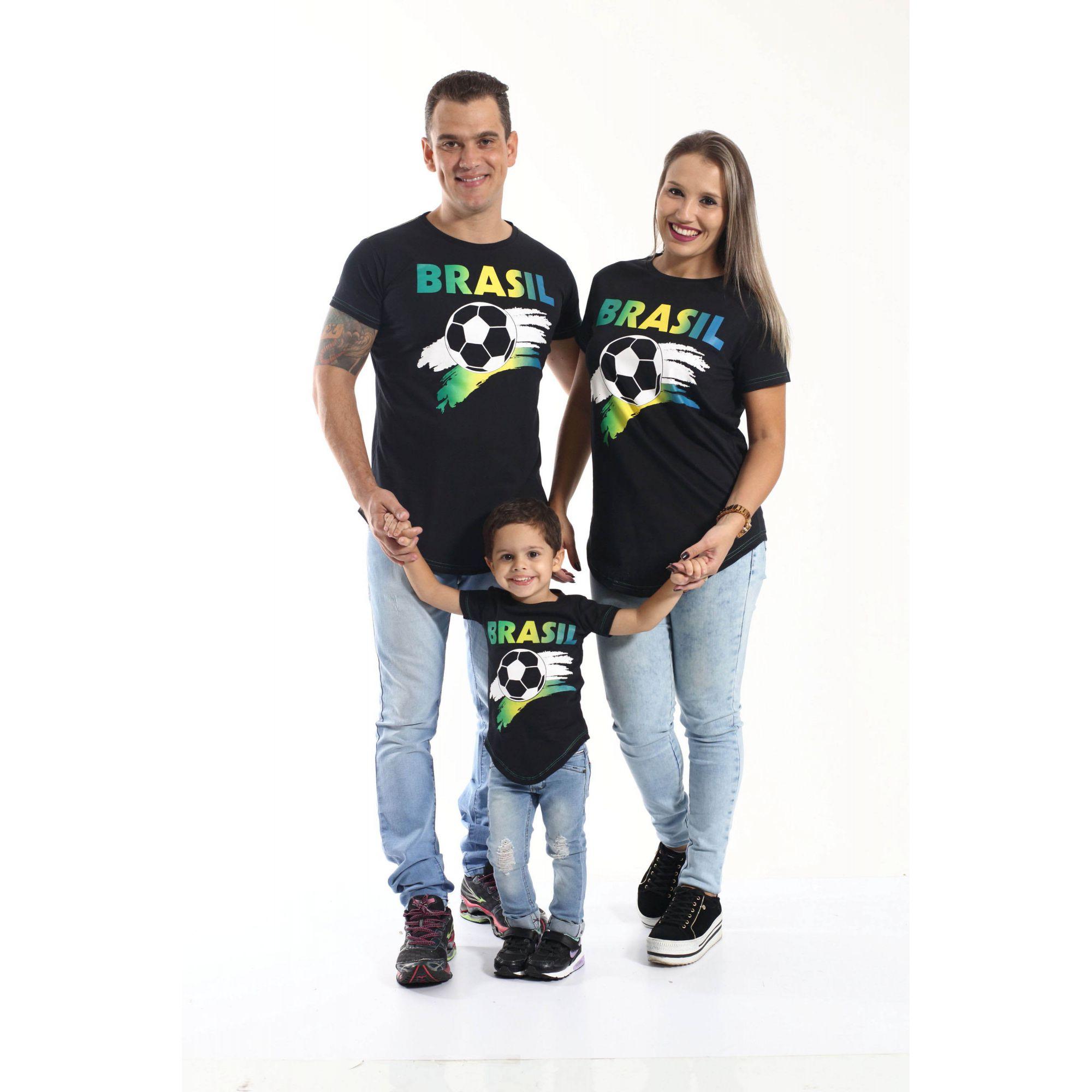 PAIS E FILHOS > Kit 3 peças Camisetas Long Brasil Unissex [Coleção Família]