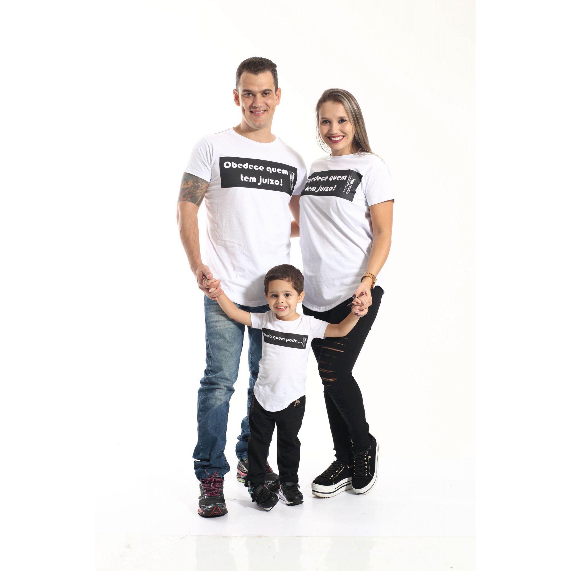 PAIS E FILHOS > Kit 3 peças Camisetas Long Manda Quem Pode Unissex [Coleção Família]