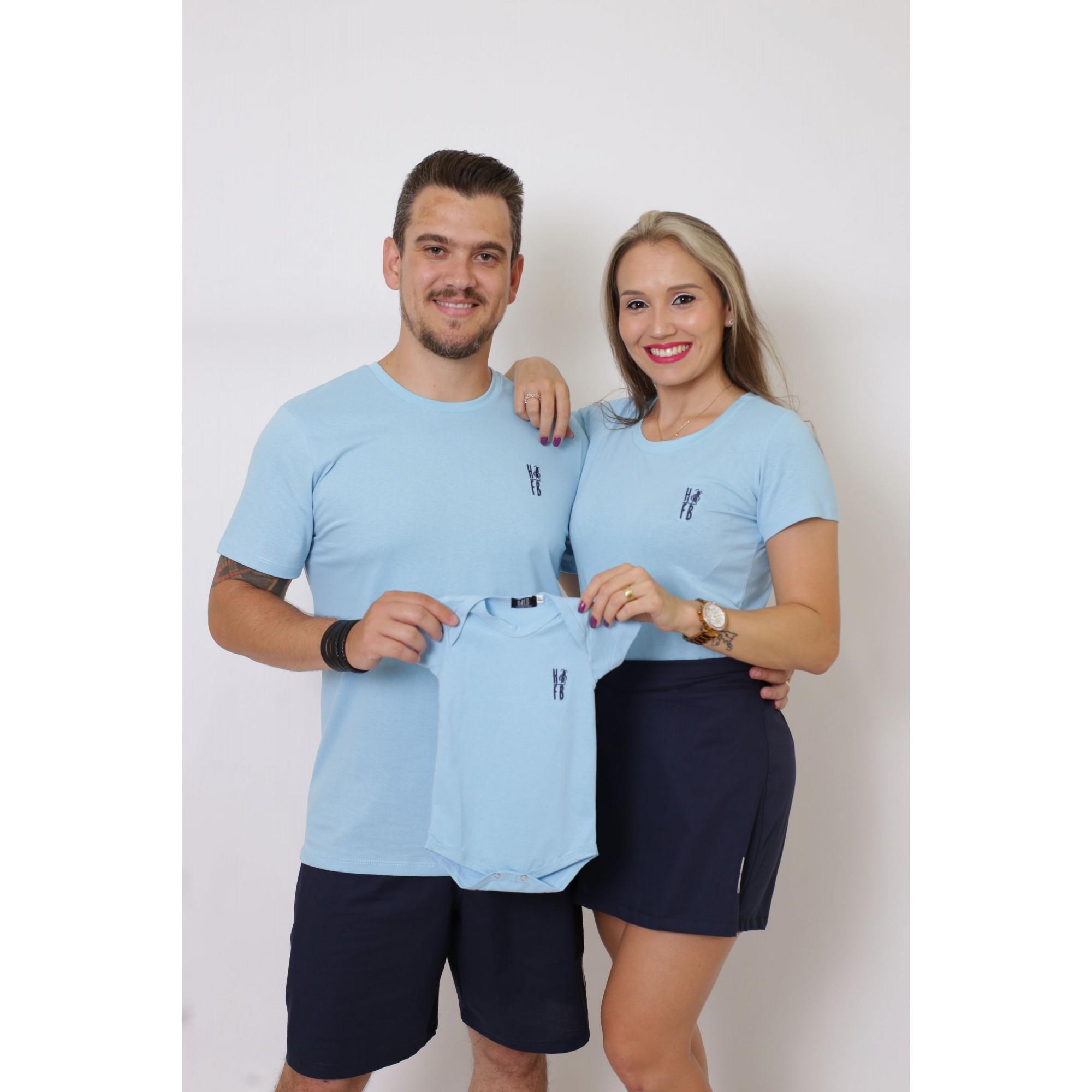 PAIS E FILHOS > Kit 3 Peças T-Shirt - Azul Bebê [Coleção Família]
