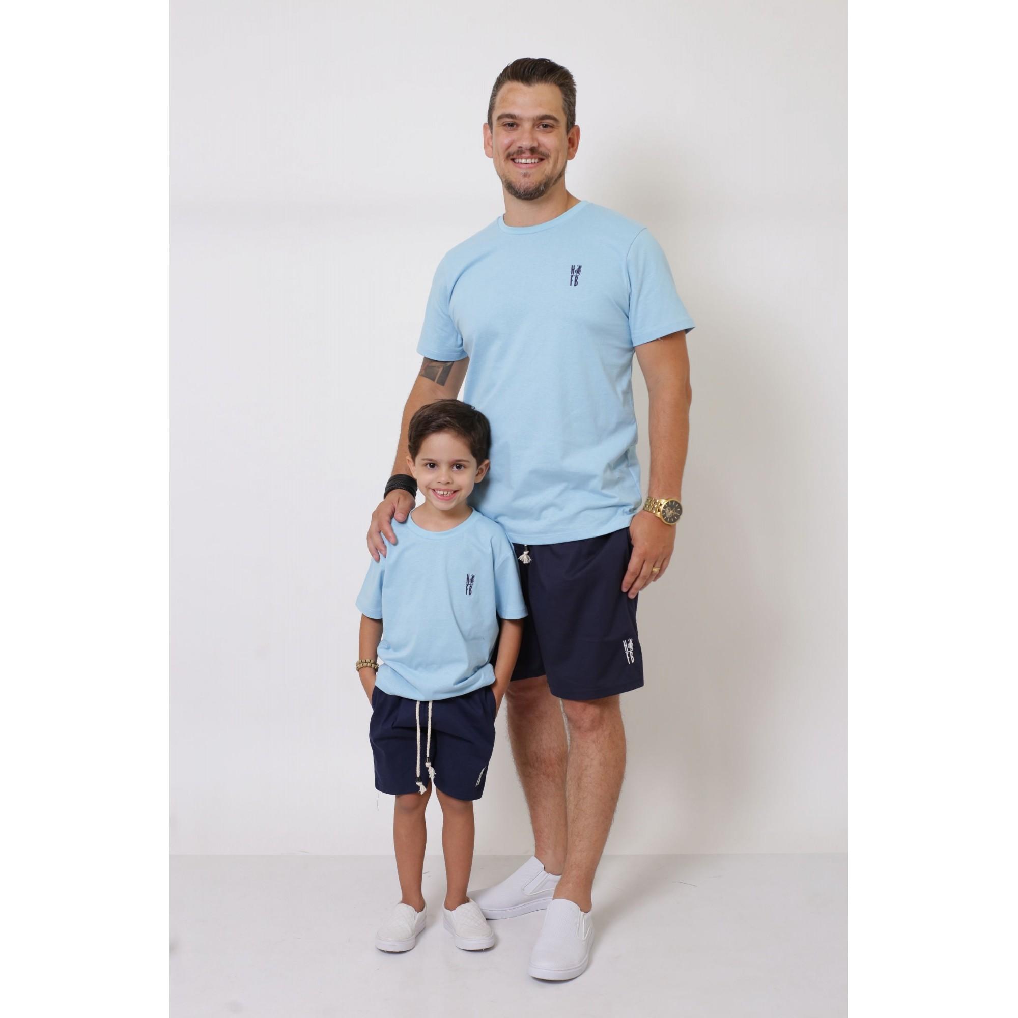 PAIS E FILHOS > Kit 3 Peças T-Shirt - Azul Bebê [Coleção Família]  - Heitor Fashion Brazil