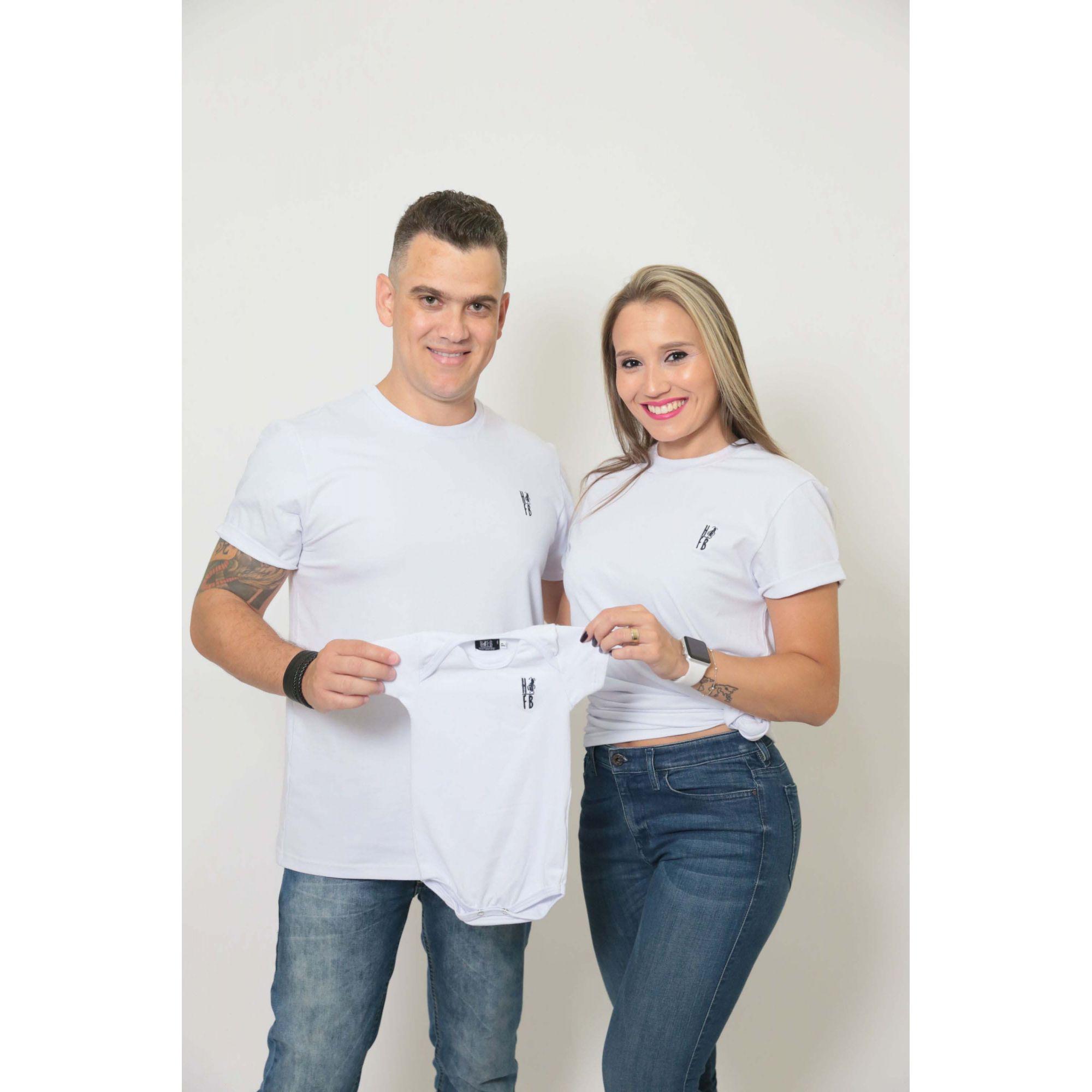 PAIS E FILHOS > Kit 3 Peças T-Shirt - Branca - Unissex [Coleção Família]  - Heitor Fashion Brazil