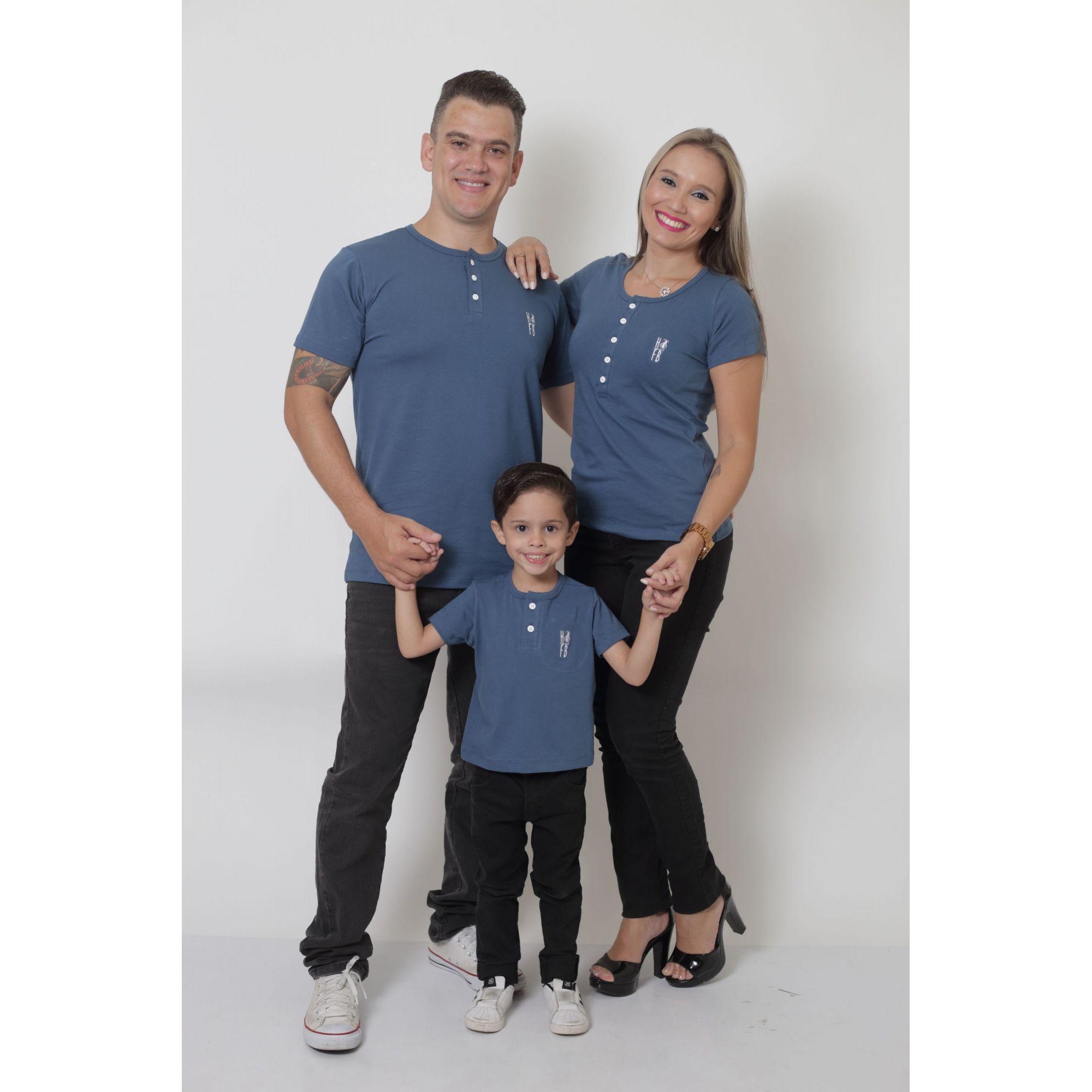 PAIS E FILHOS > Kit 3 Peças T-Shirt ou Body Henley - Azul Petróleo [Coleção Família]