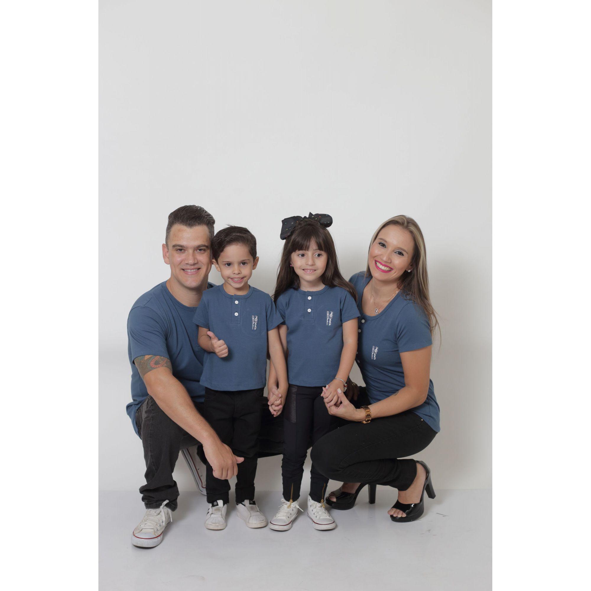 PAIS E FILHOS > Kit 3 Peças T-Shirt Henley - Azul Petróleo [Coleção Família]  - Heitor Fashion Brazil