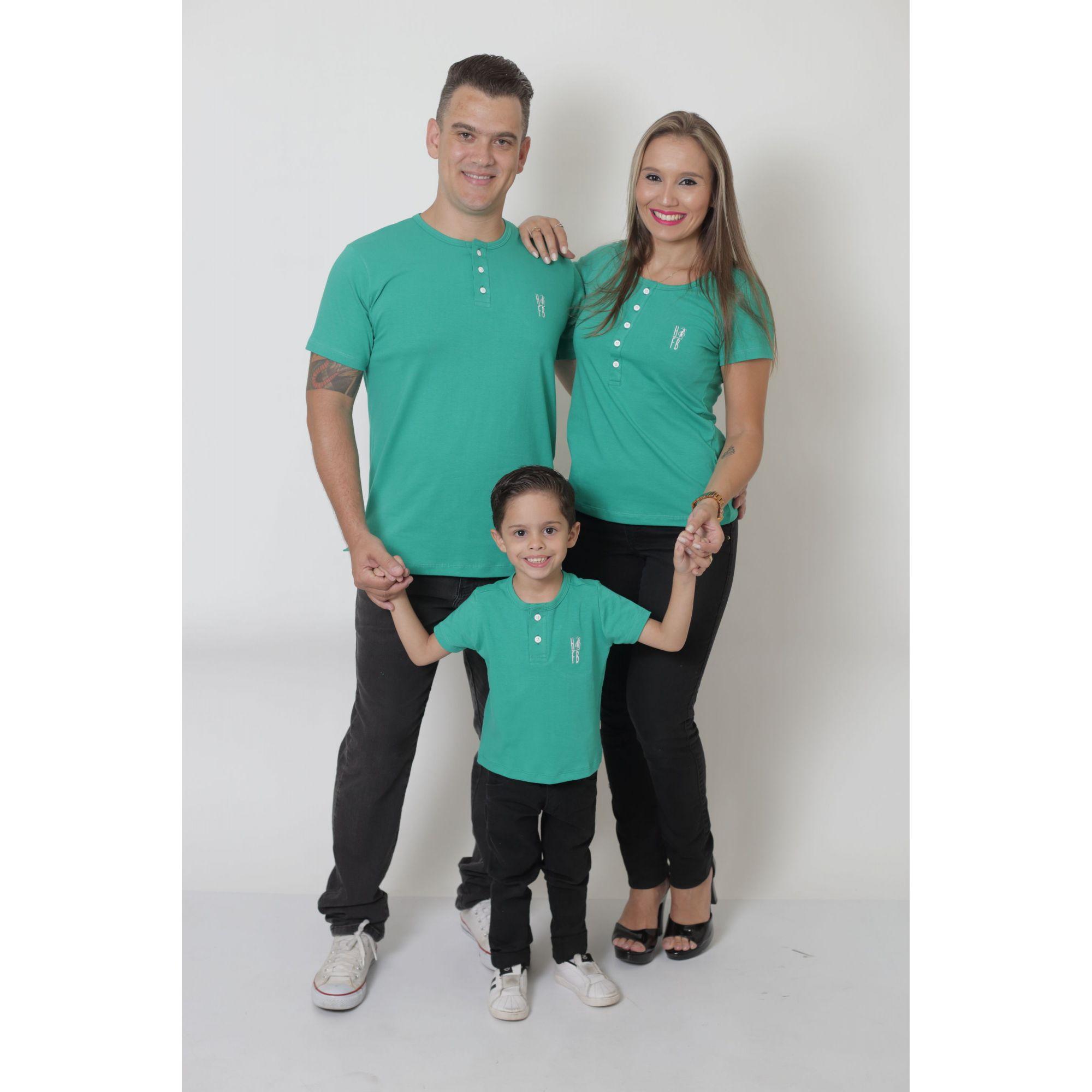PAIS E FILHOS > Kit 3 Peças T-Shirt ou Body Henley - Verde Jade [Coleção Família]
