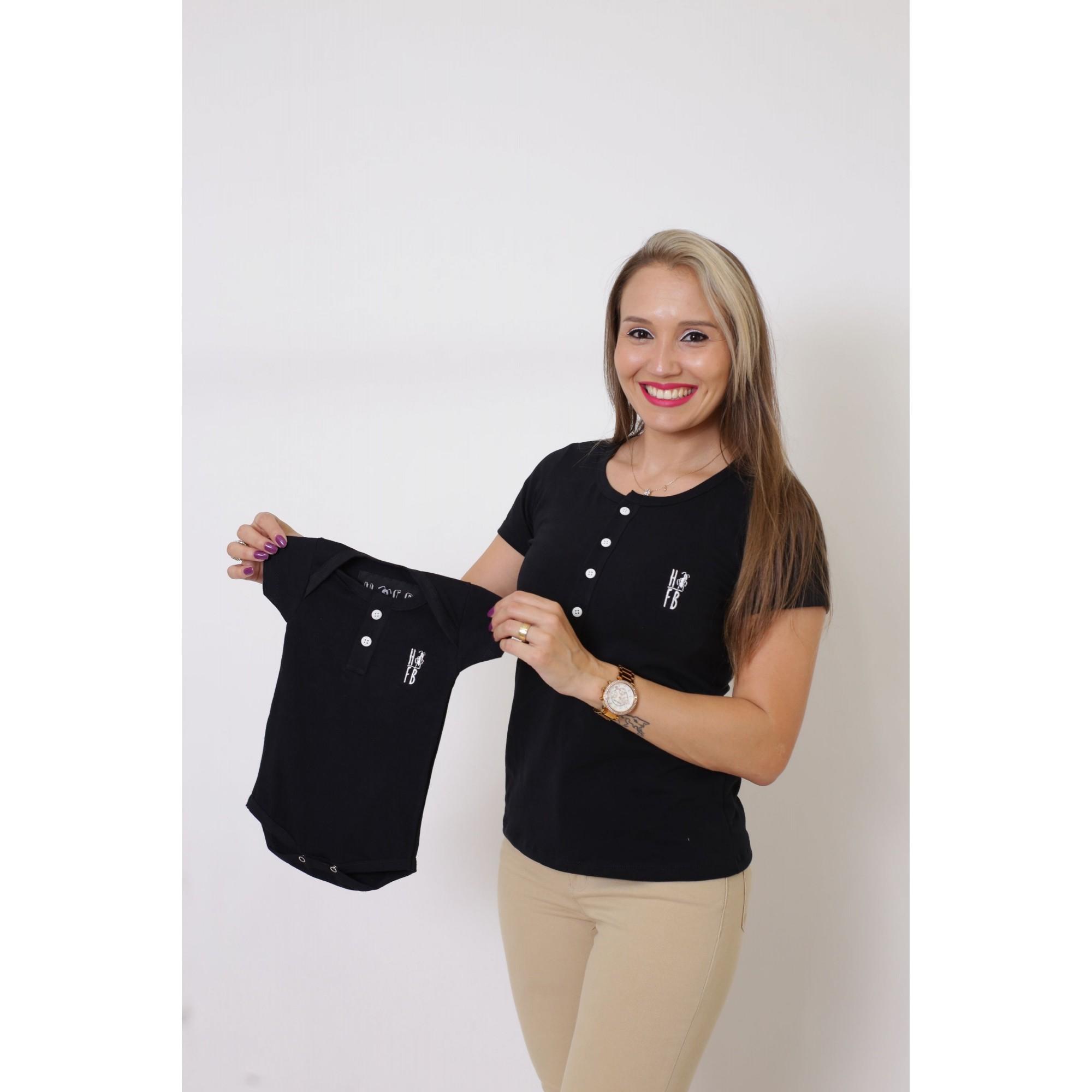 PAIS E FILHOS > Kit 3 Peças T-Shirt ou Body Henley - Preto [Coleção Família]  - Heitor Fashion Brazil