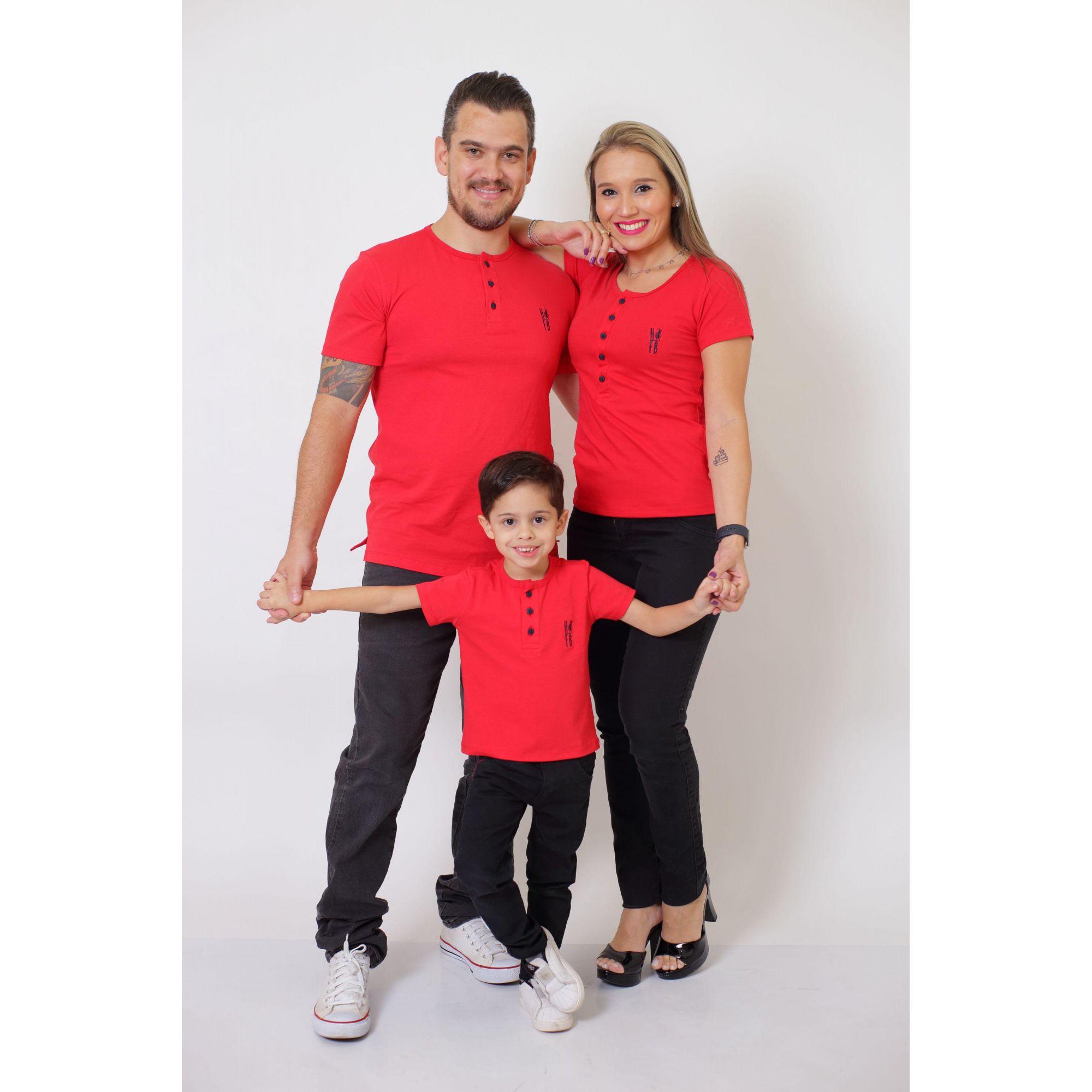 PAIS E FILHOS > Kit 3 Peças - T-Shirt ou Body Henley - Vermelho [Coleção Família]