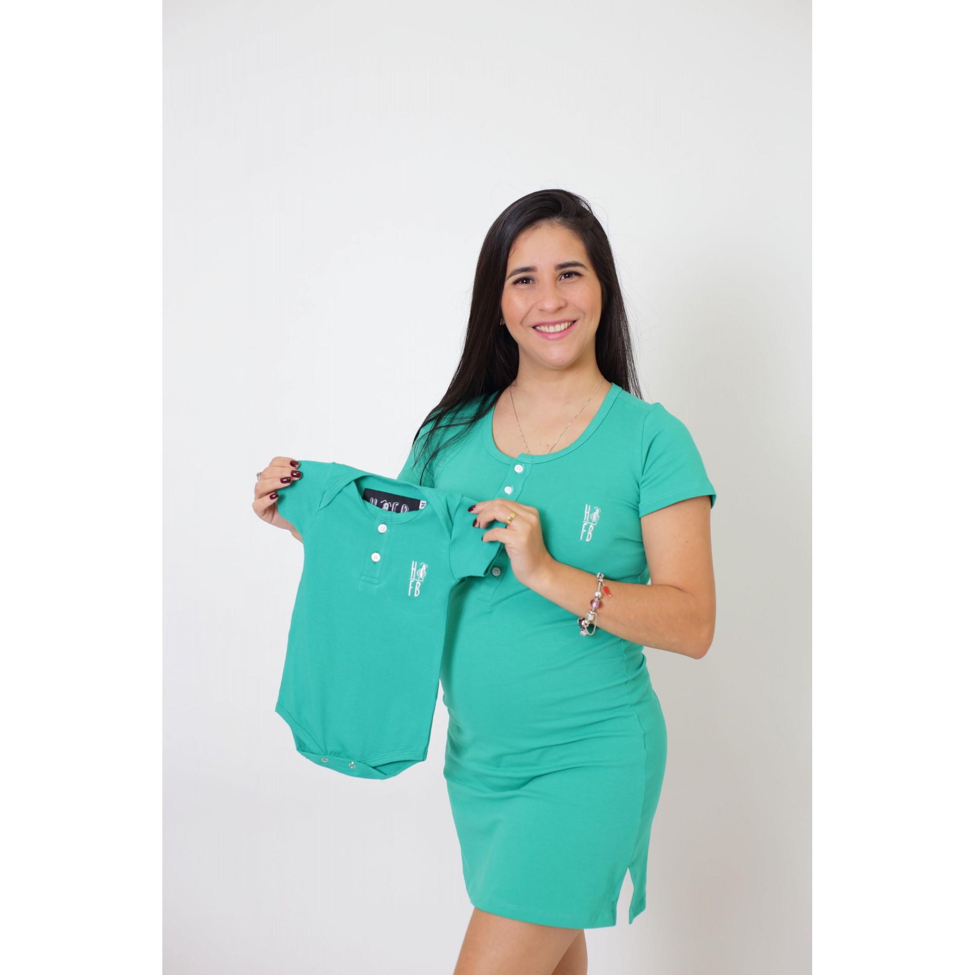 PAIS E FILHOS > Kit 3 Peças T-Shirt + Vestido + Body Unissex Henley - Verde Jade [Coleção Família]  - Heitor Fashion Brazil