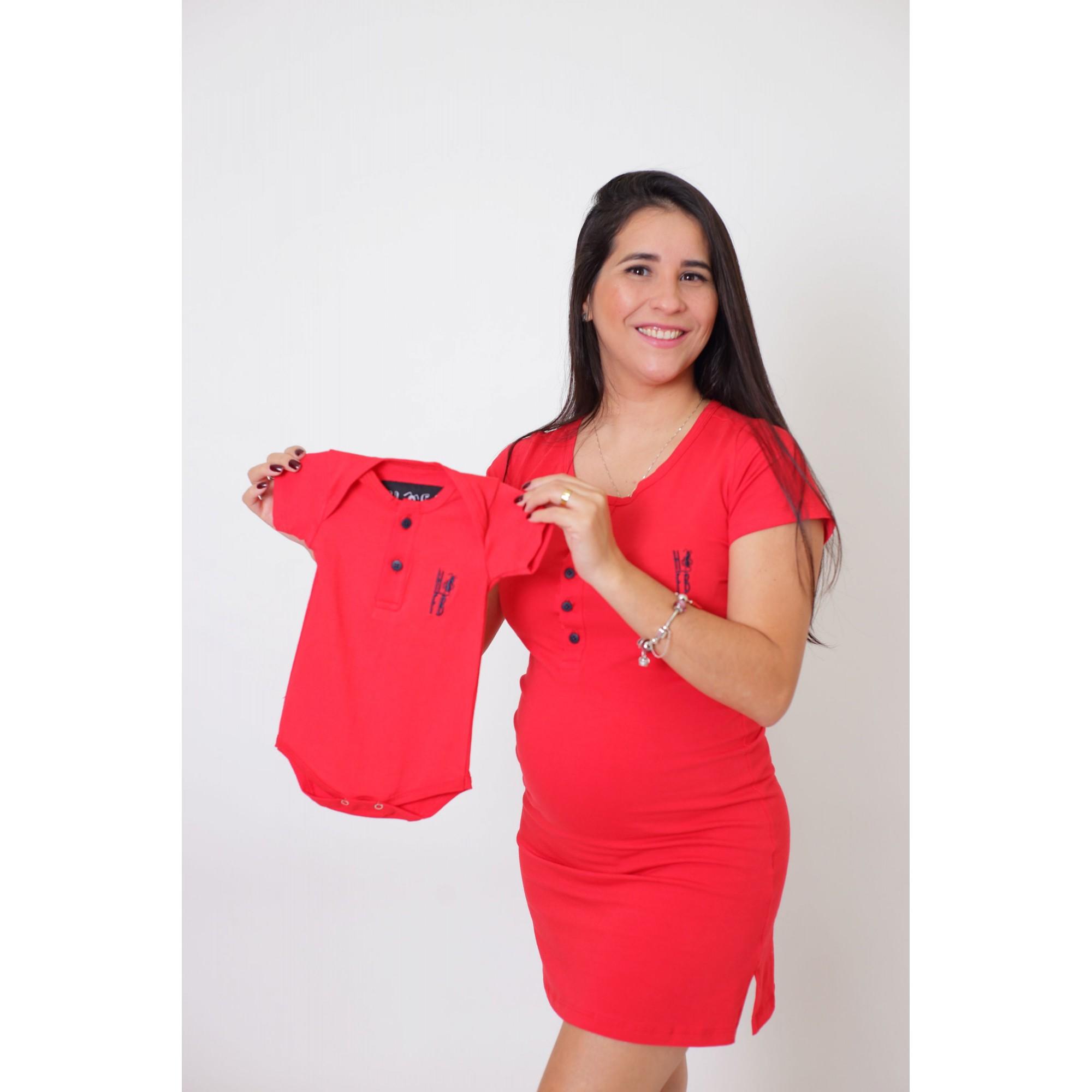 PAIS E FILHOS > Kit 3 Peças T-Shirt + Vestido + Body  Unissex Henley - Vermelho [Coleção Família]  - Heitor Fashion Brazil